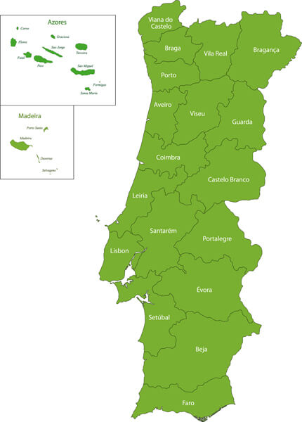 Portugal Map with Regions