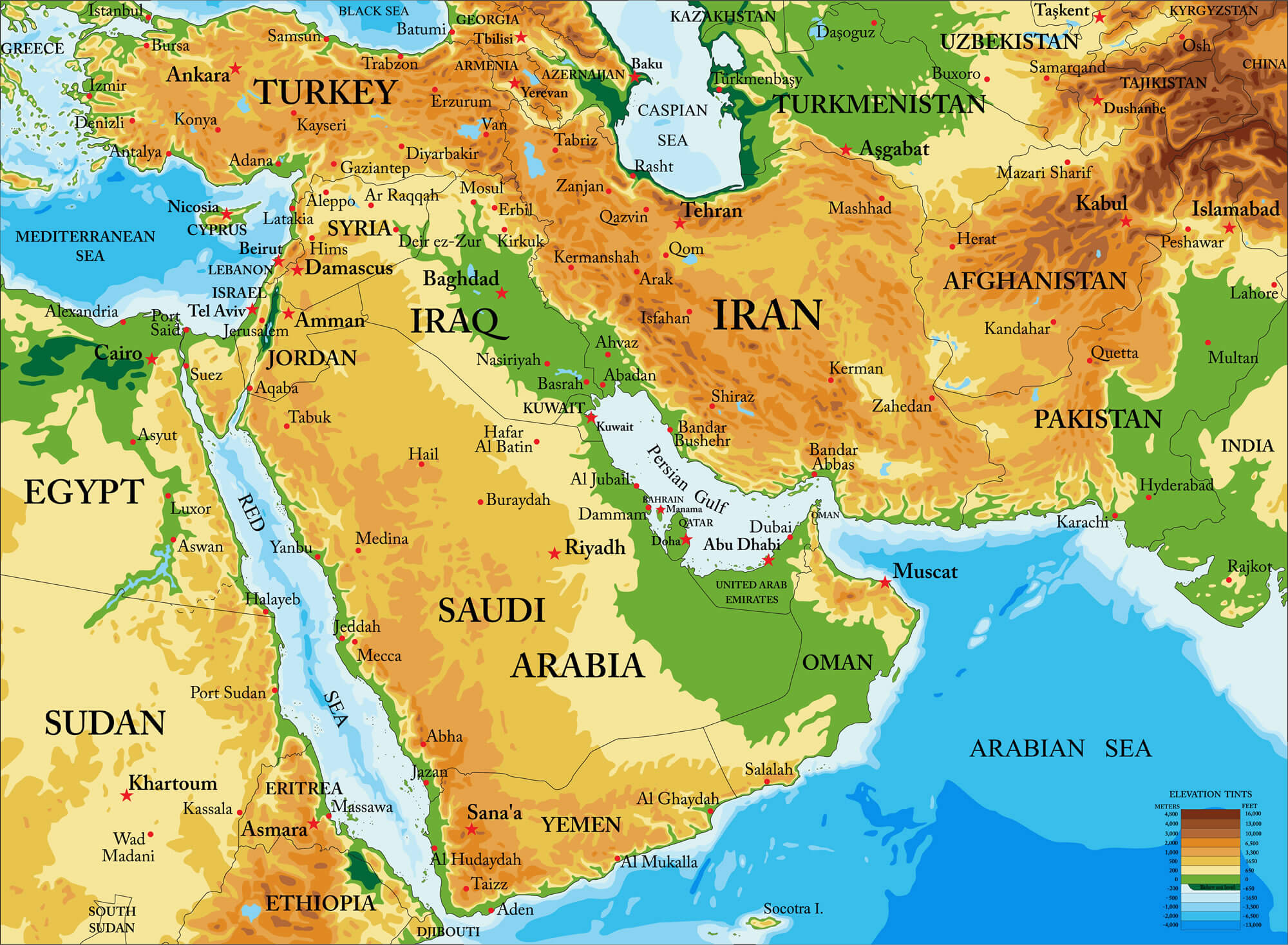 Blank Physical Map Of Middle East Qatar Map - Gui...