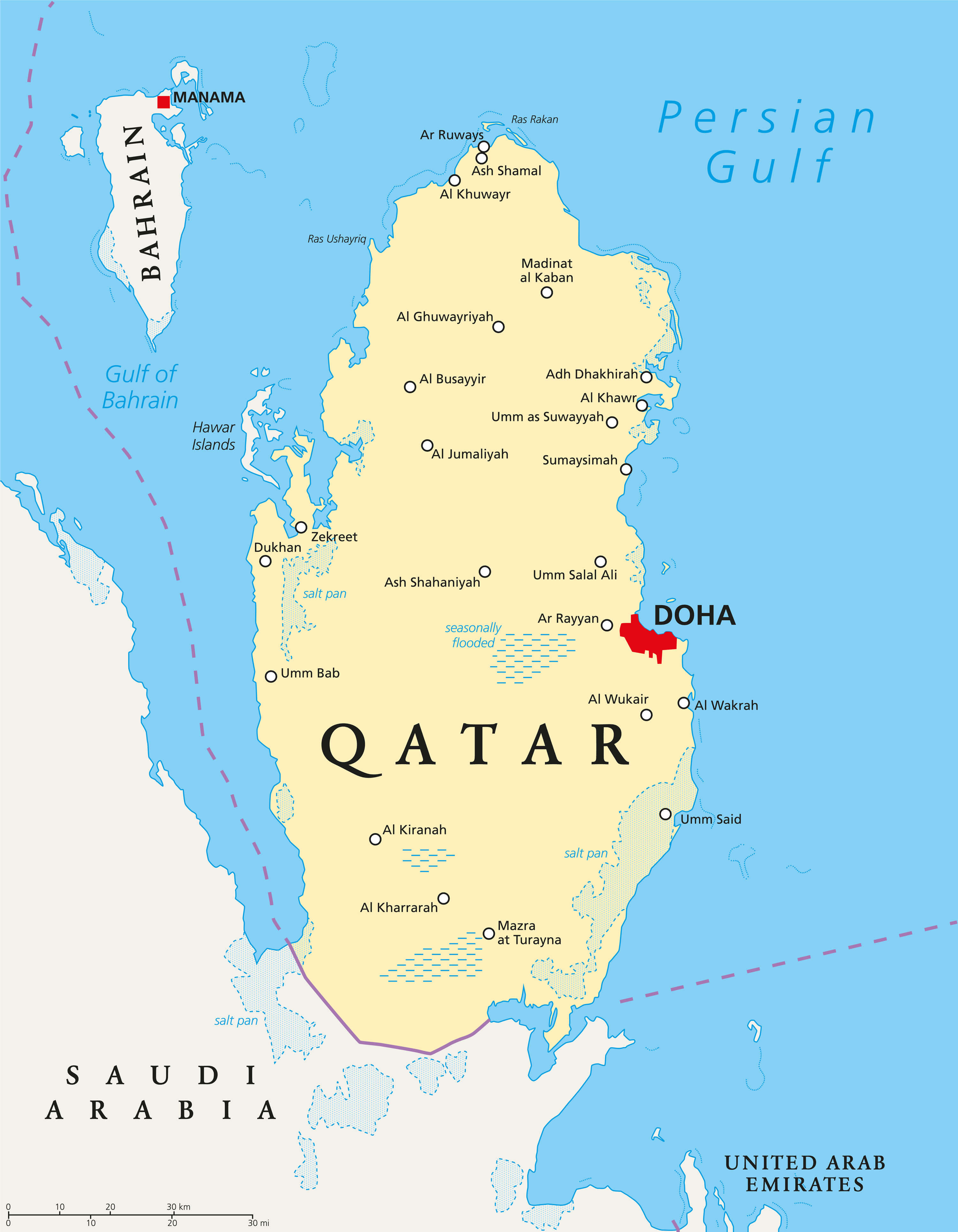 Qatar Map - Guide of the World on jordan on a map, arabian peninsula on a map, arabian sea on a map, middle east on a map, baghdad on a map, west bank on a map, gaza strip on a map, turkmenistan on a map, tunisia on a map, russia on a map, swaziland on a map, iran on a map, dead sea on a map, singapore on a map, kuwait on a map, bahrain on a map, palestine on a map, turkey on a map, cyprus on a map, kirkuk on a map,