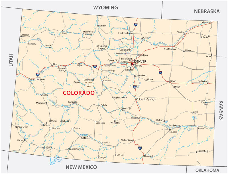 Road Map of Colorado