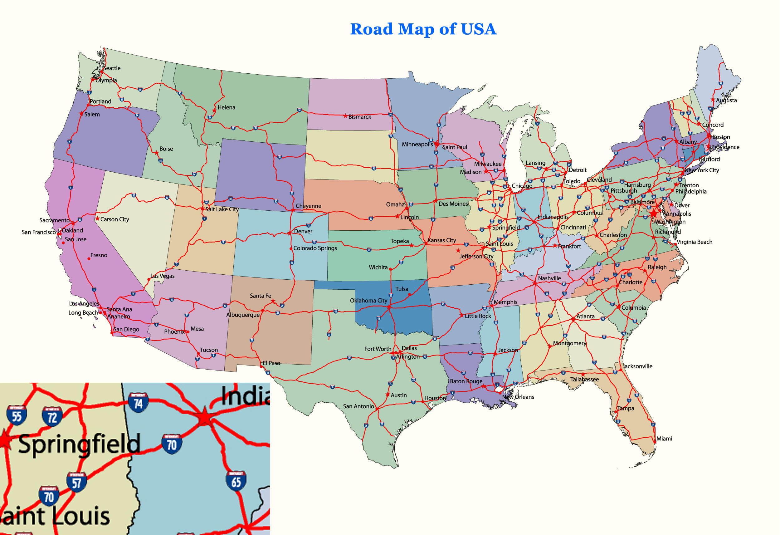 Road Map of United States