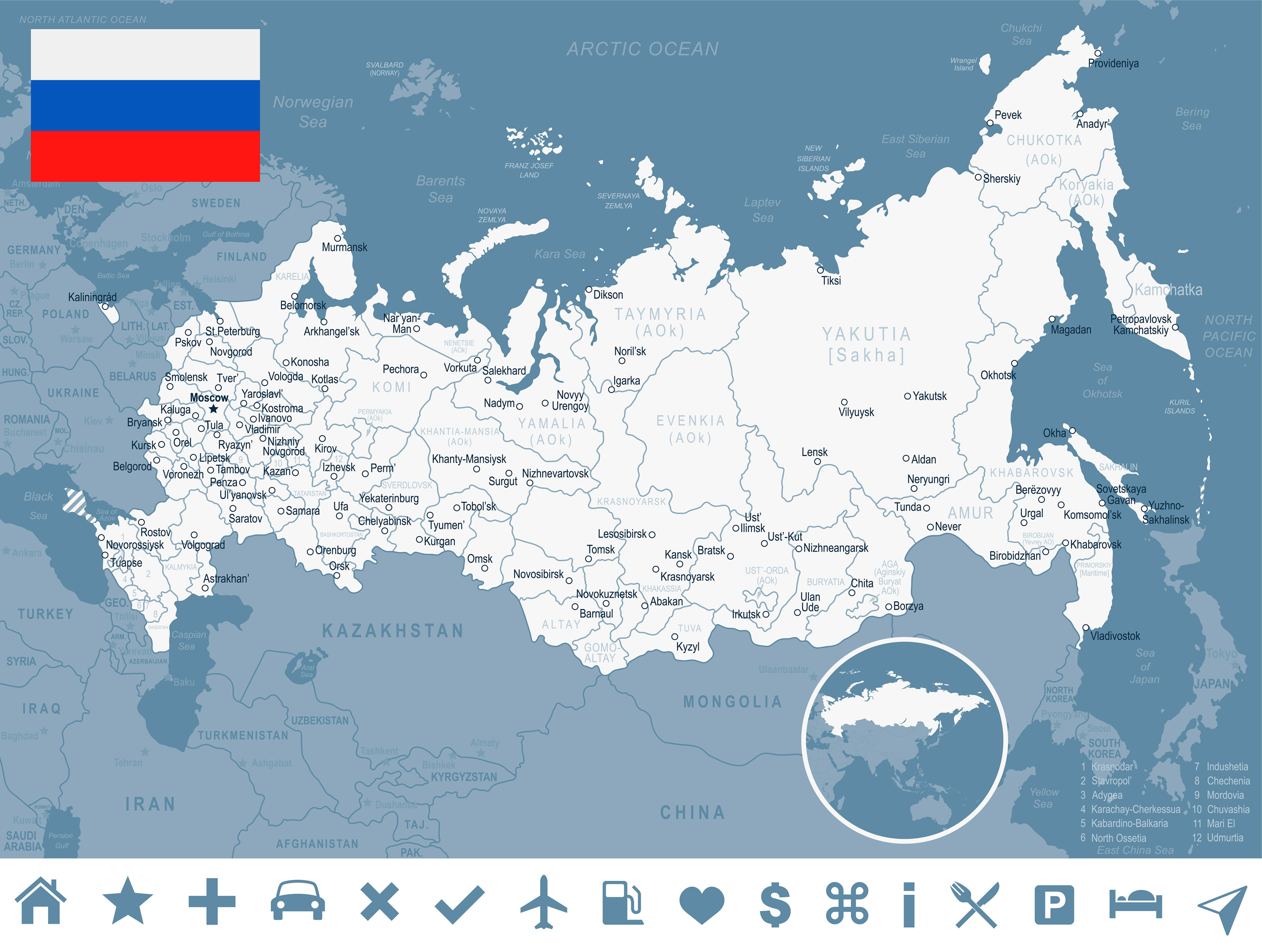 Map Of Russia Guide Of The World