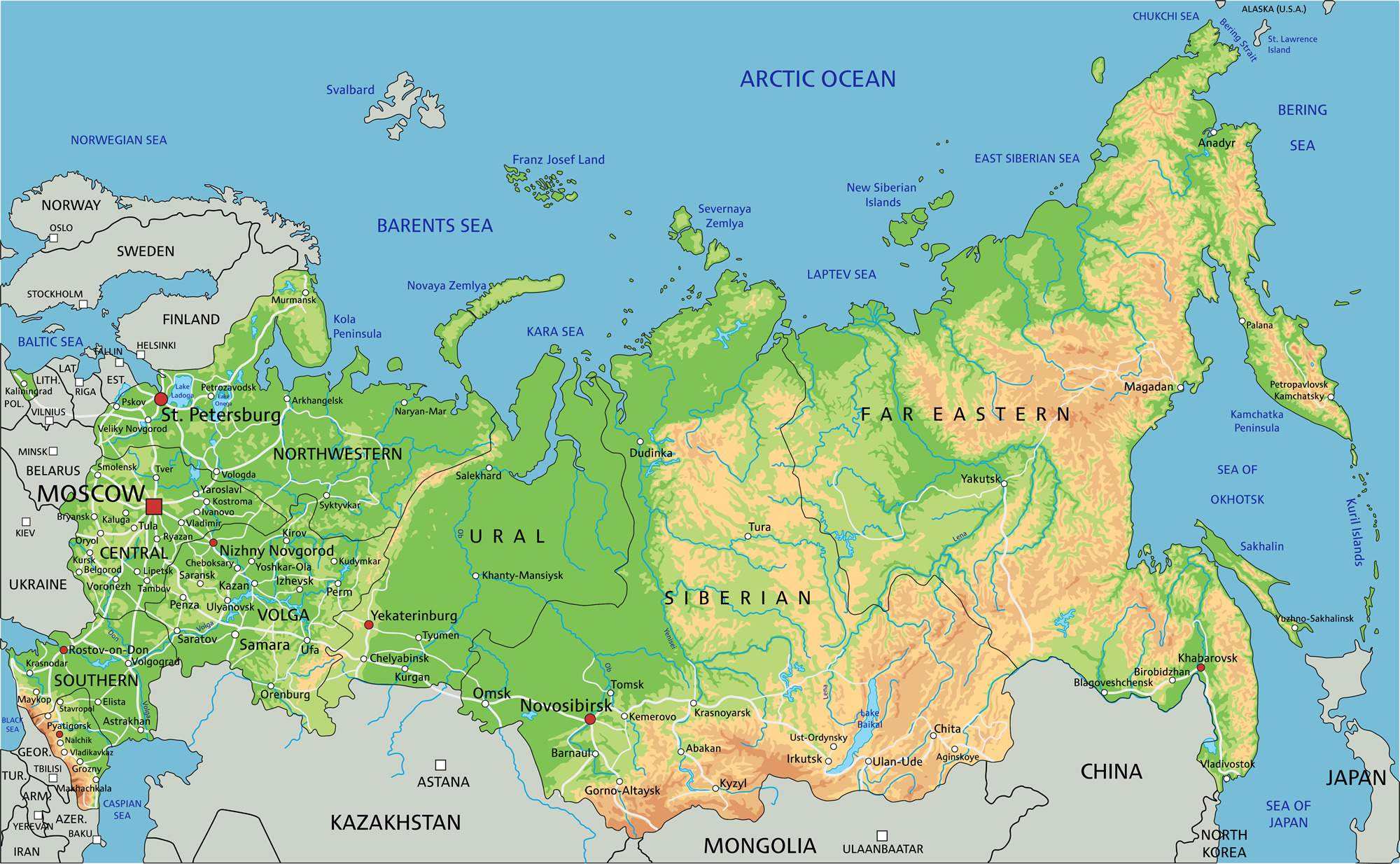 Map Of Russia Guide Of The World - Physical map of russia
