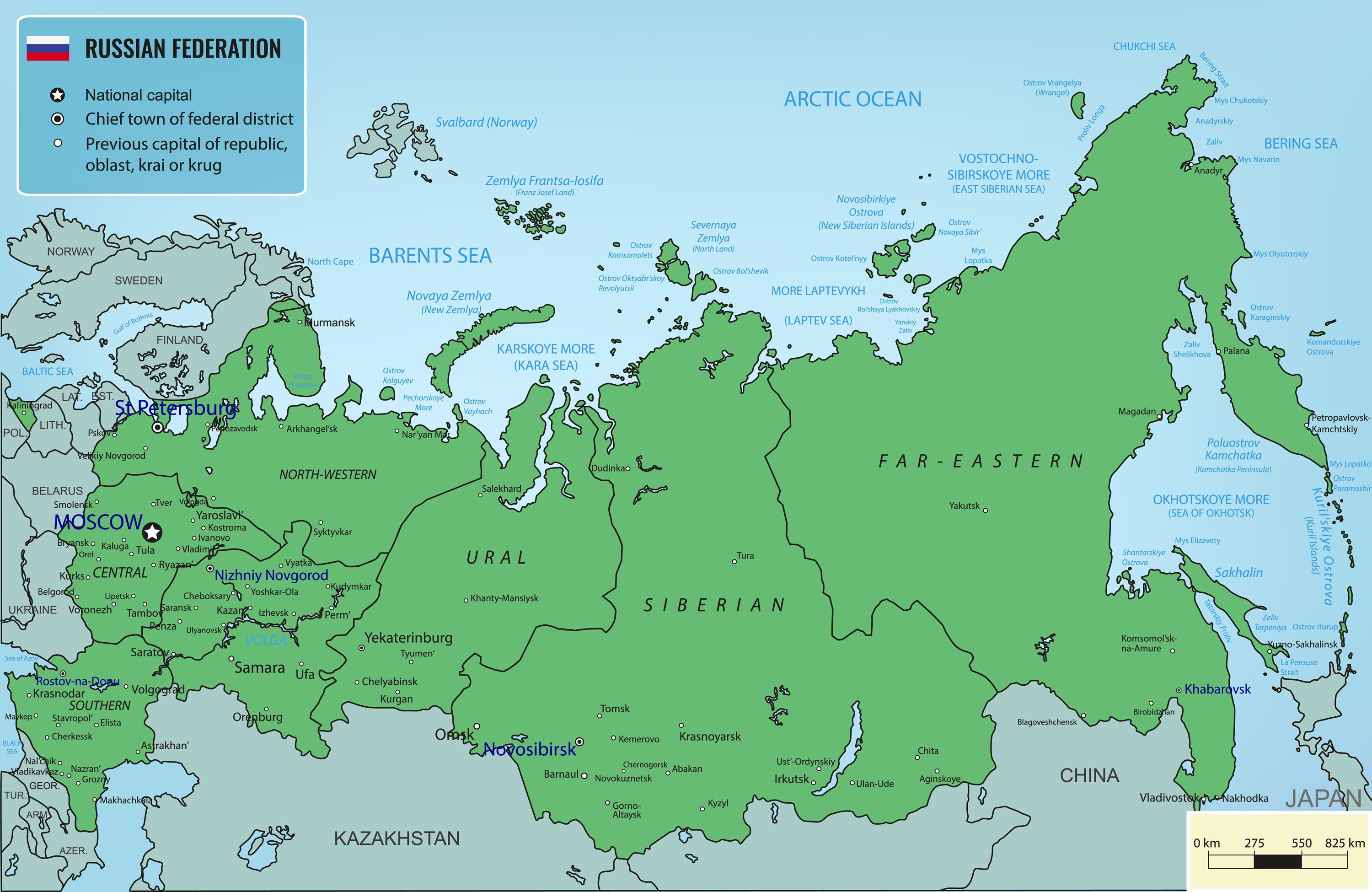 Russian Federation territories Map