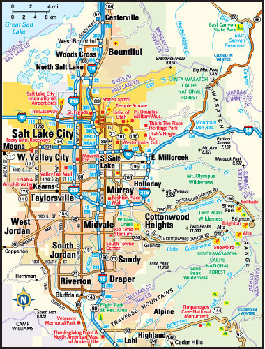 Salt Lake City Map, Utah