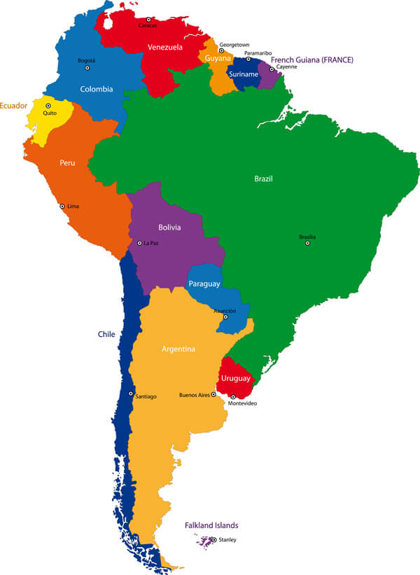 South America Countries Map