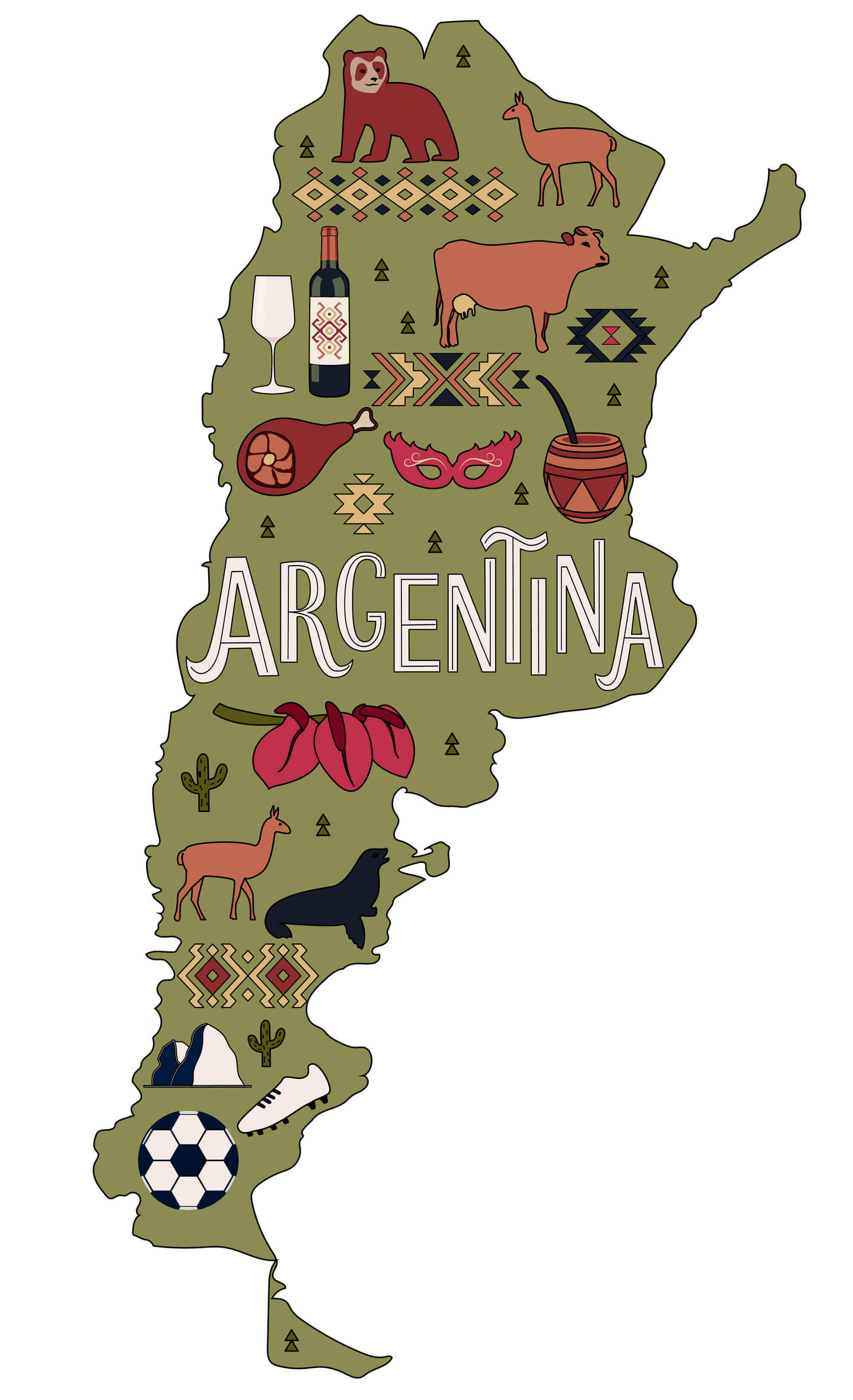 Stylized Map of Argentina