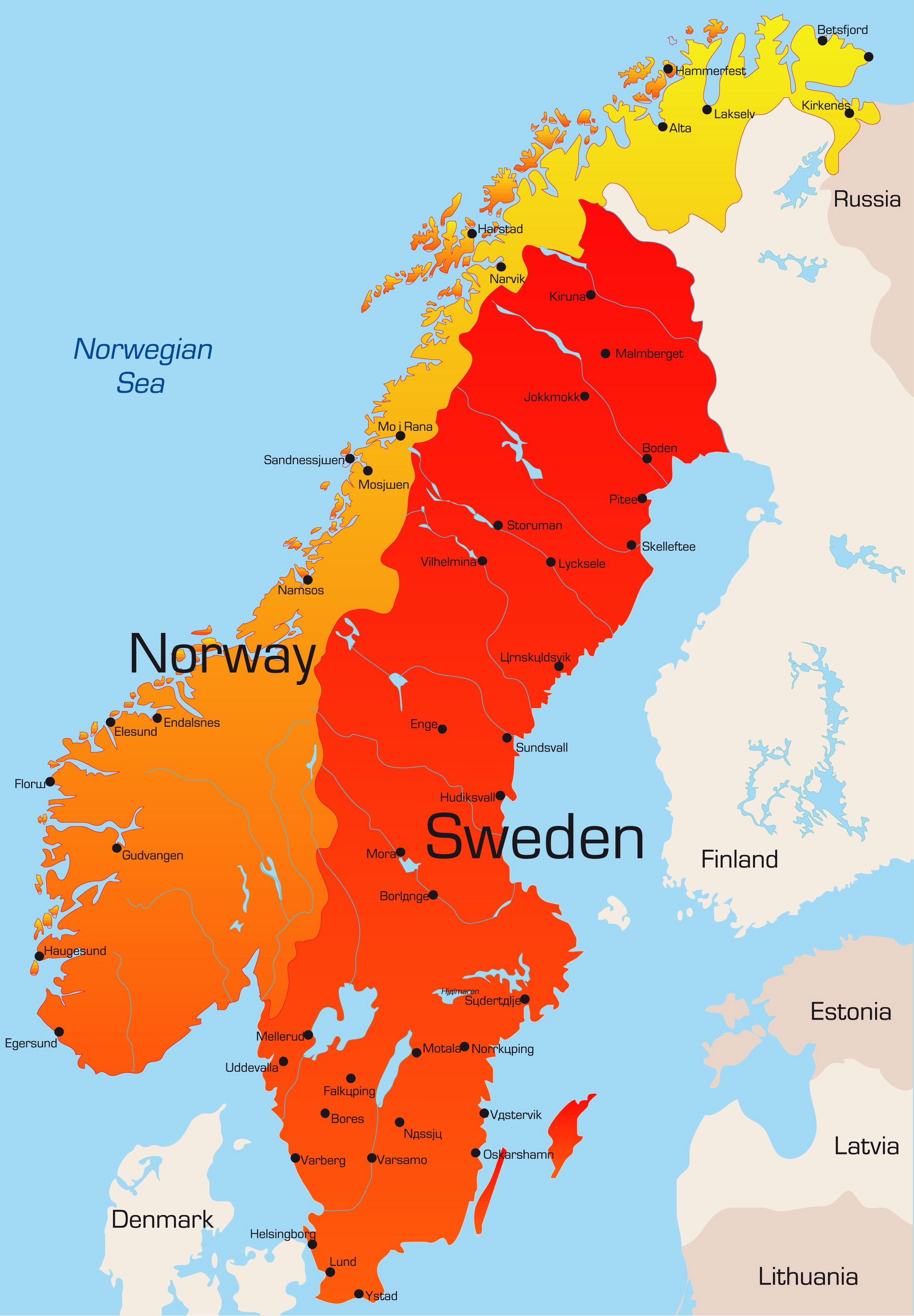 Sweden and Norway Map