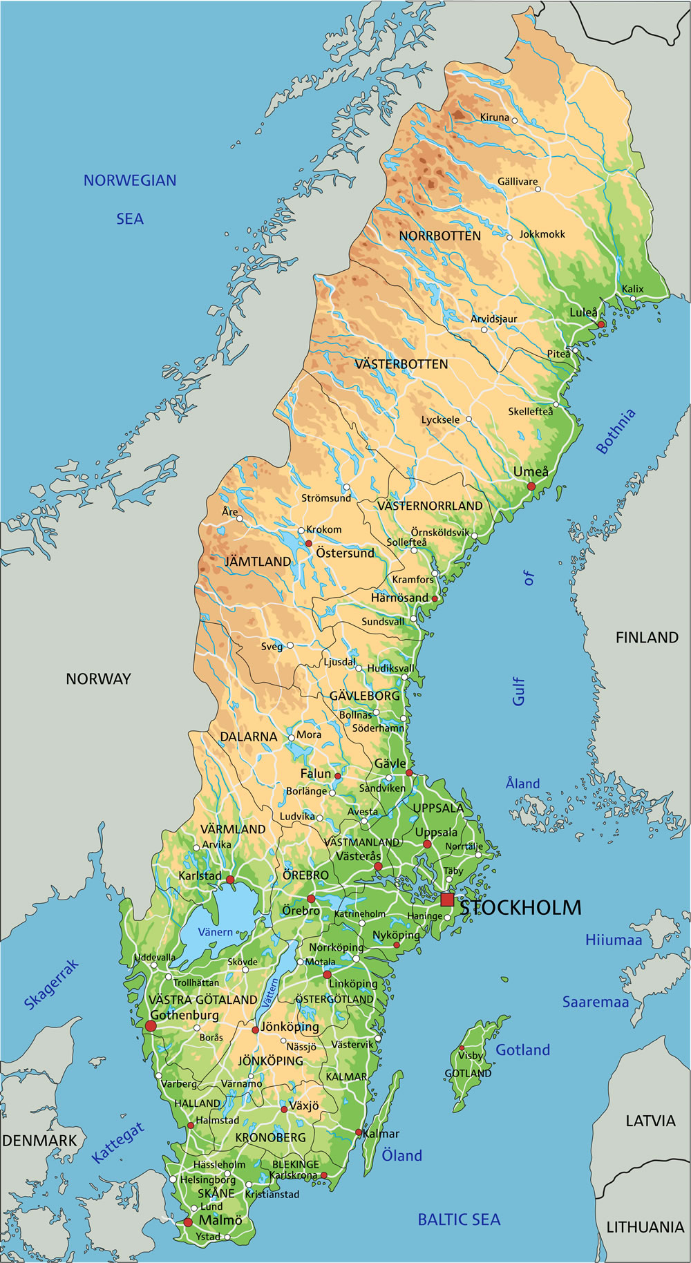 Map of Sweden - Guide of the World