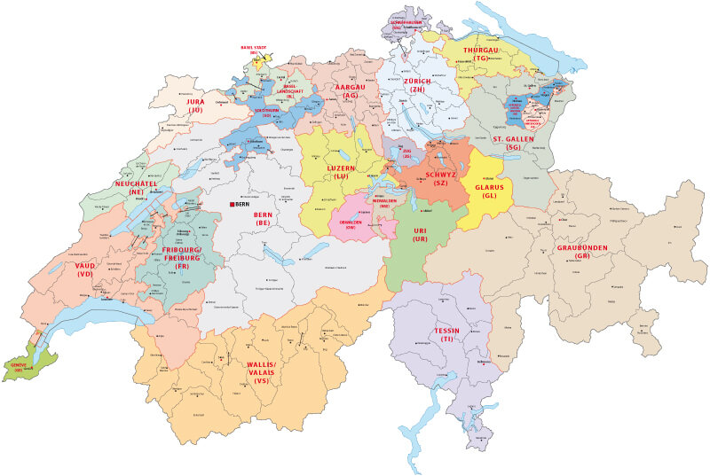 Switzerland Administrative Map