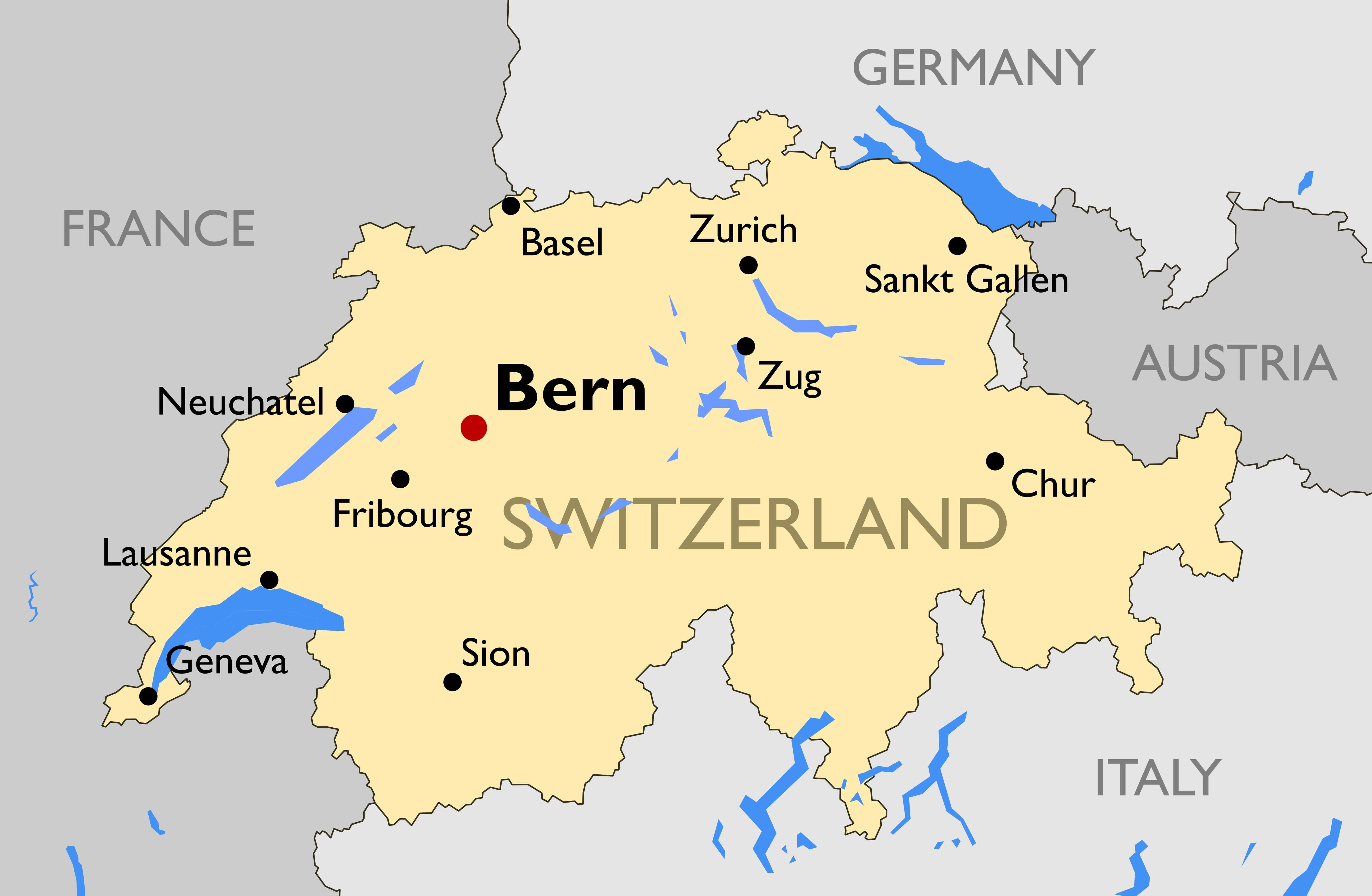 Map of Switzerland Guide of the World