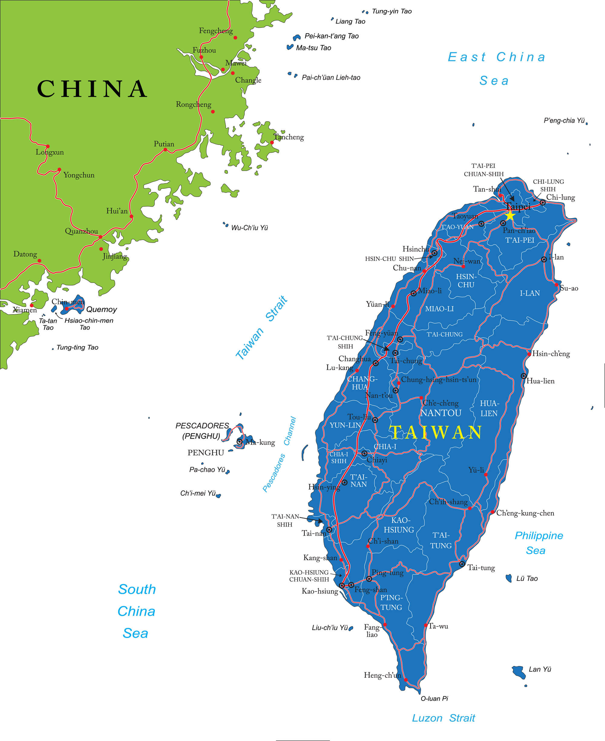Map of taiwan guide of the world taiwan map with main cities gumiabroncs Images