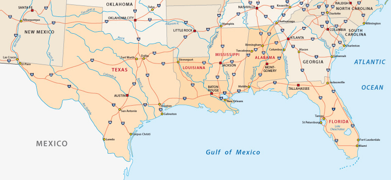 Texas Map, Gulf of Mexico