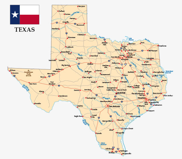 Texas road map with flag