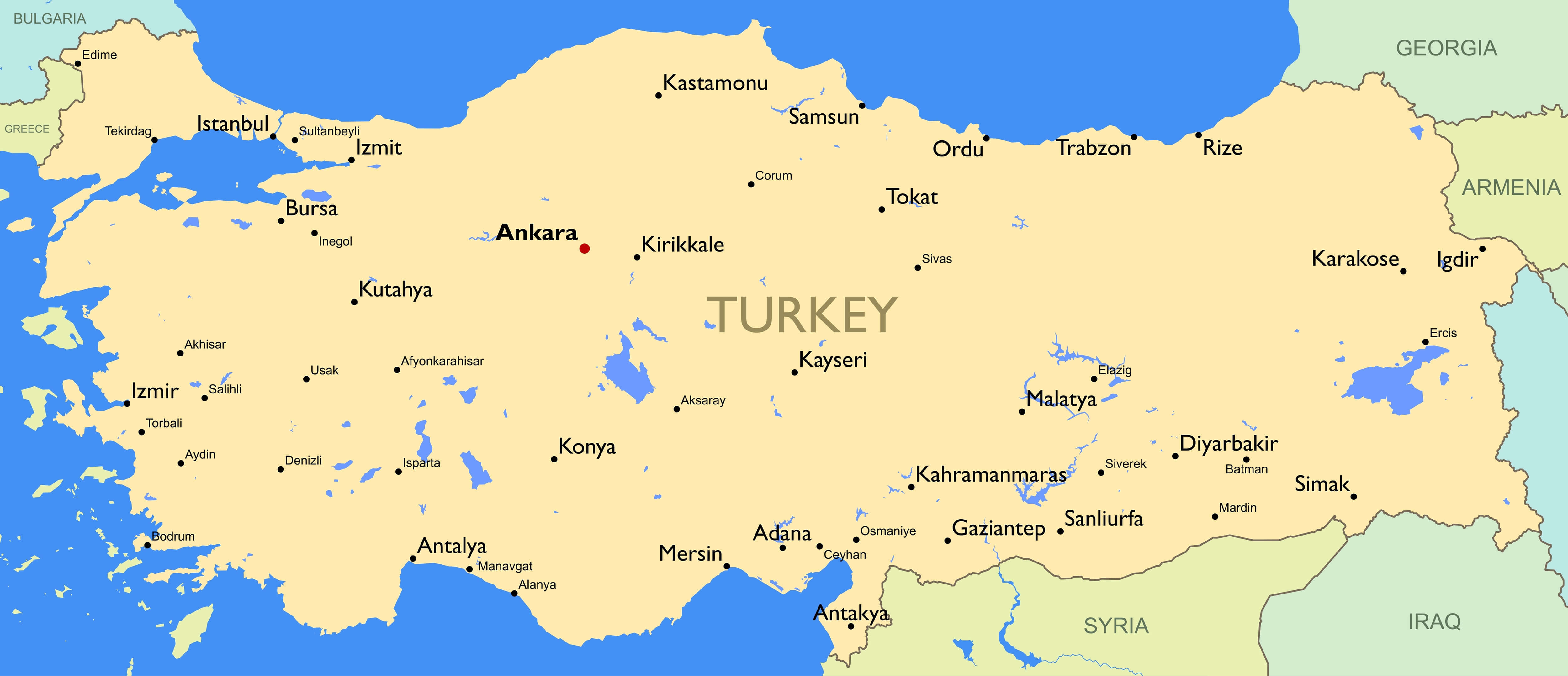 Map of Turkey - Guide of the World