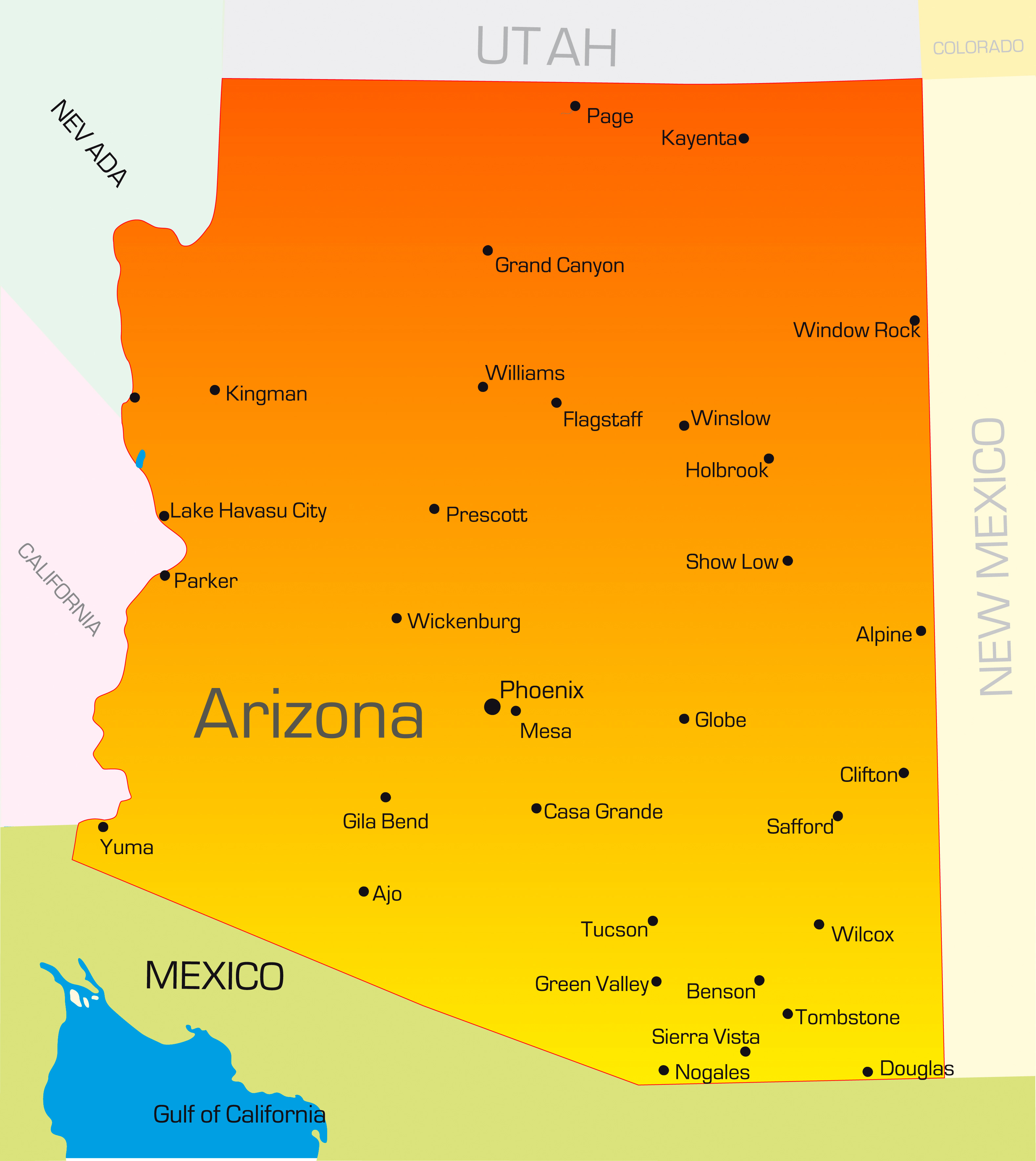 Vector color map of Arizona