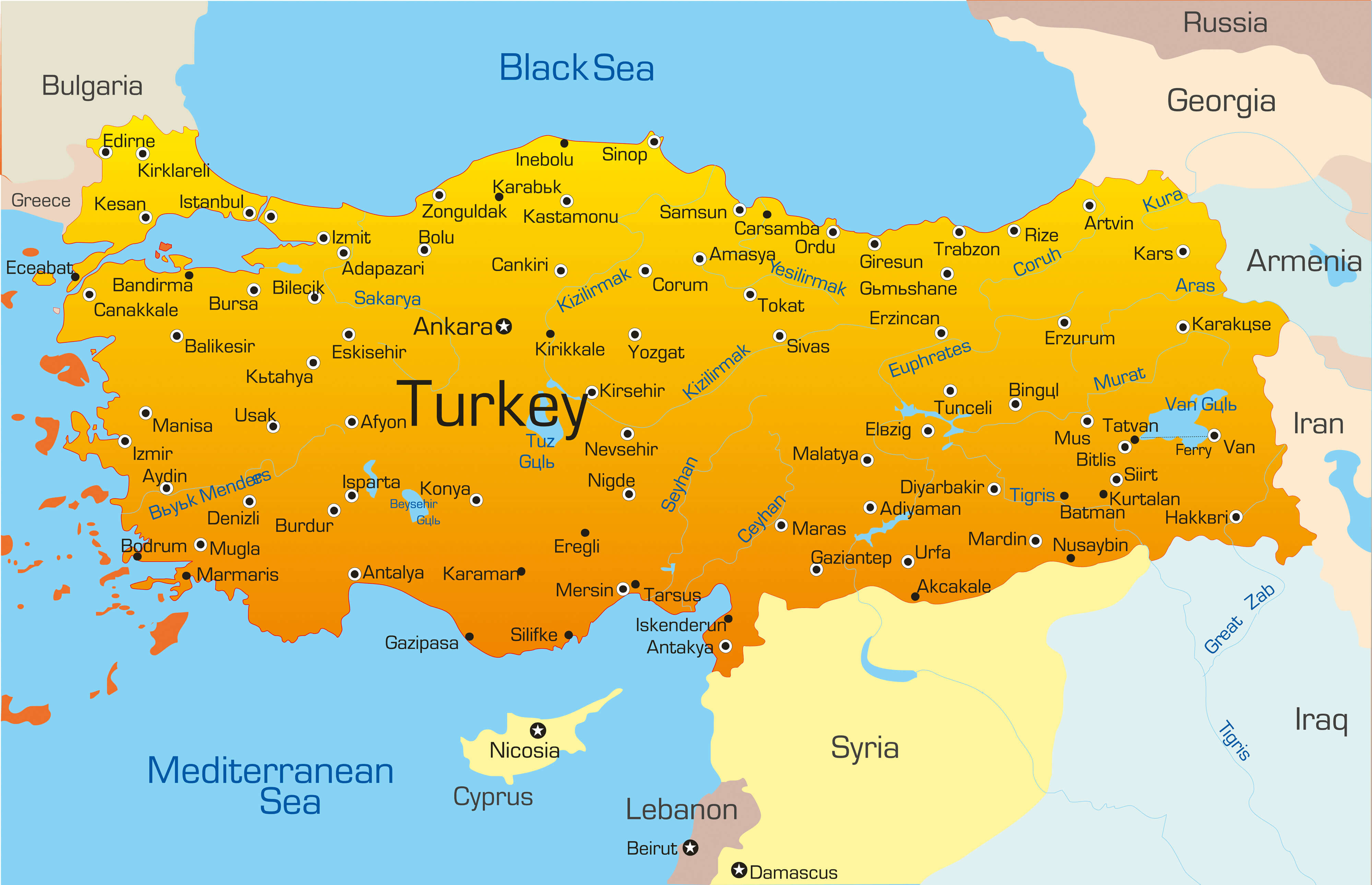 Turkey map guide of the world turkey color map gumiabroncs Images