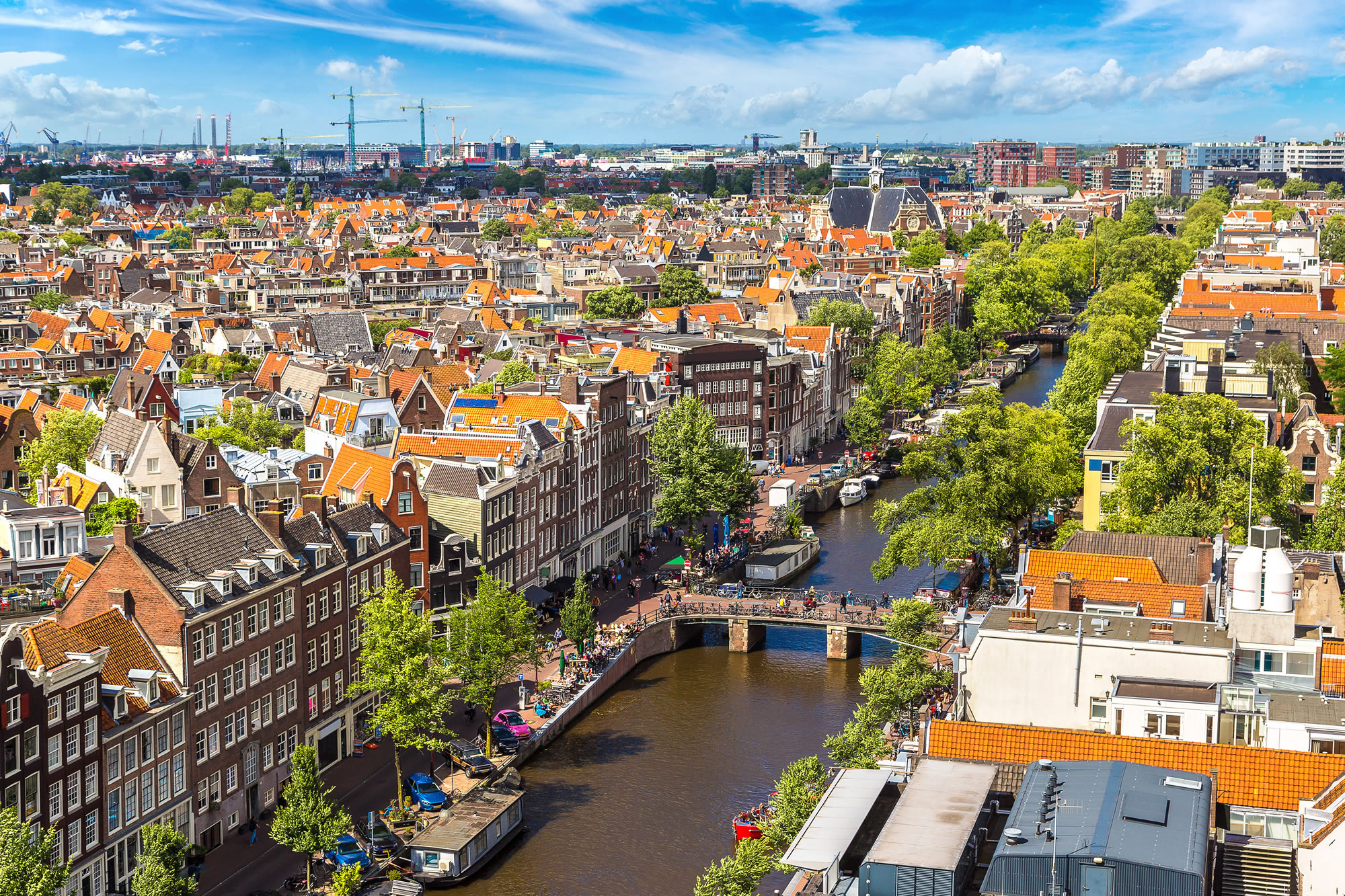 Panoramic aerial view from Amsterdam, Netherlands