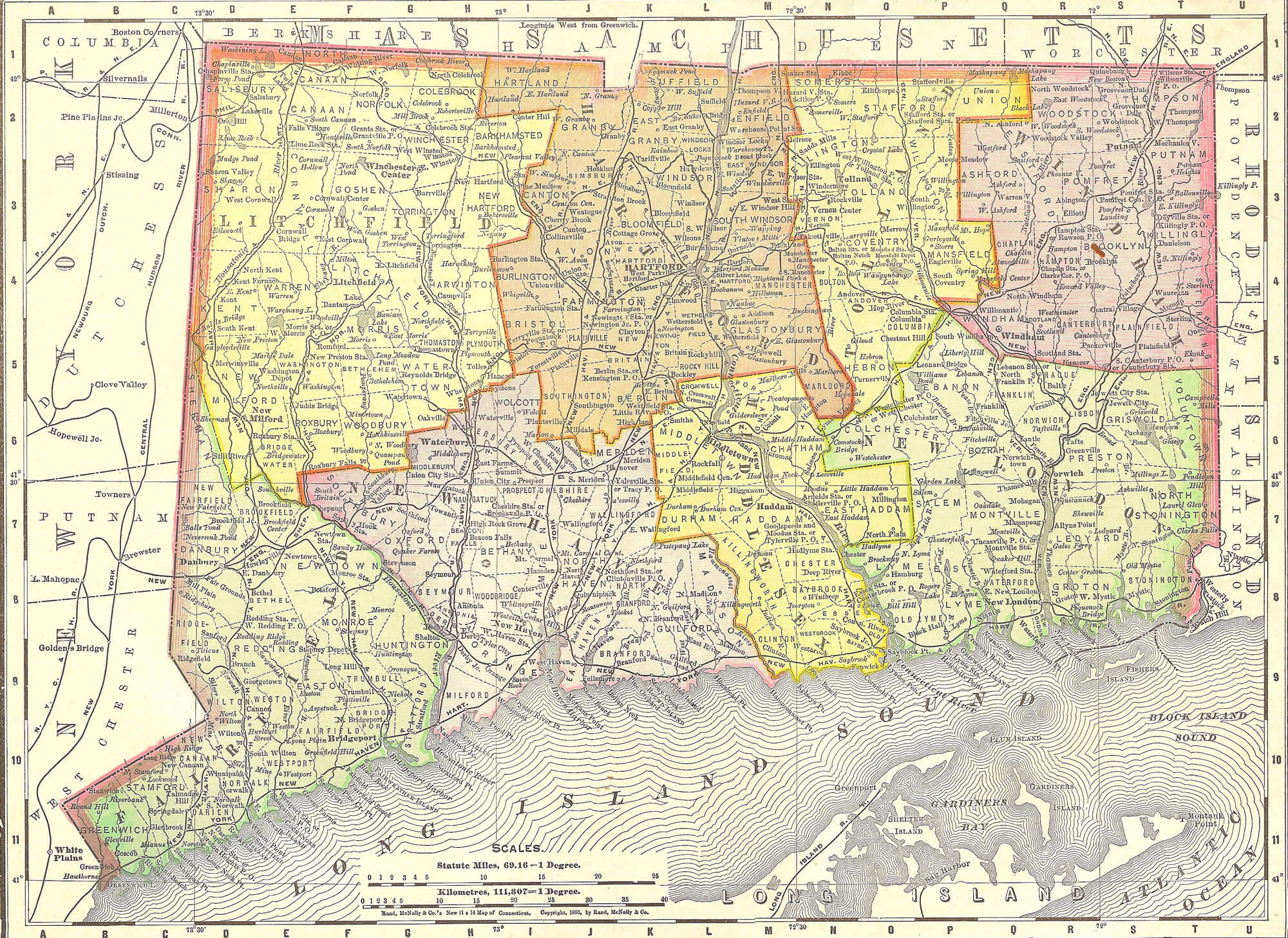 Vintage 1891 Map of Connecticut