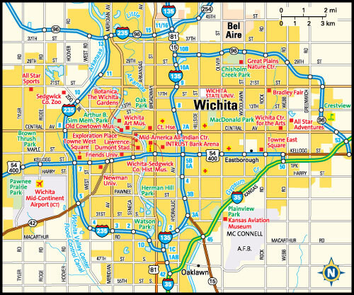 Wichita Map, Kansas