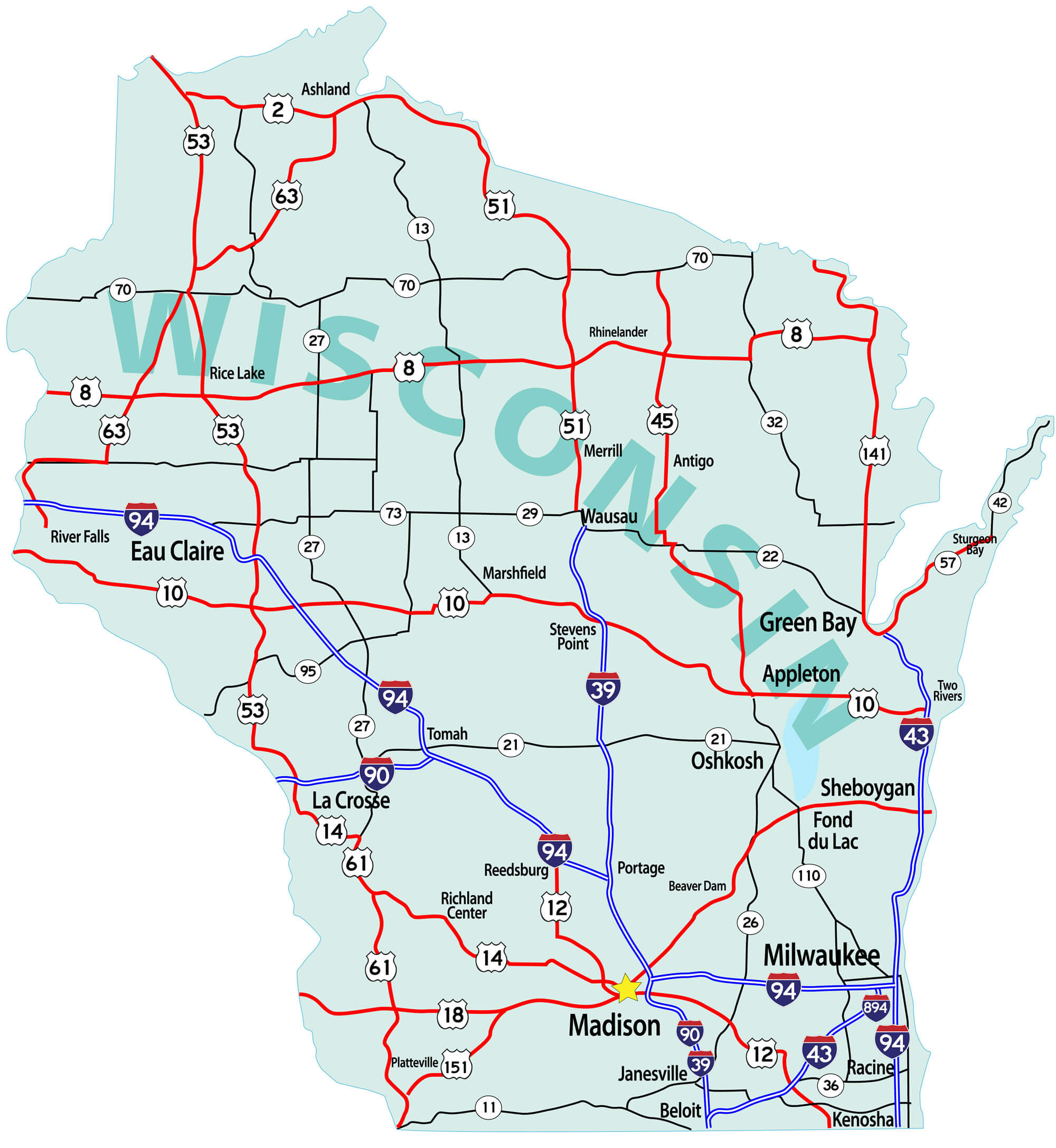 Wisconsin Map - Guide of the World on