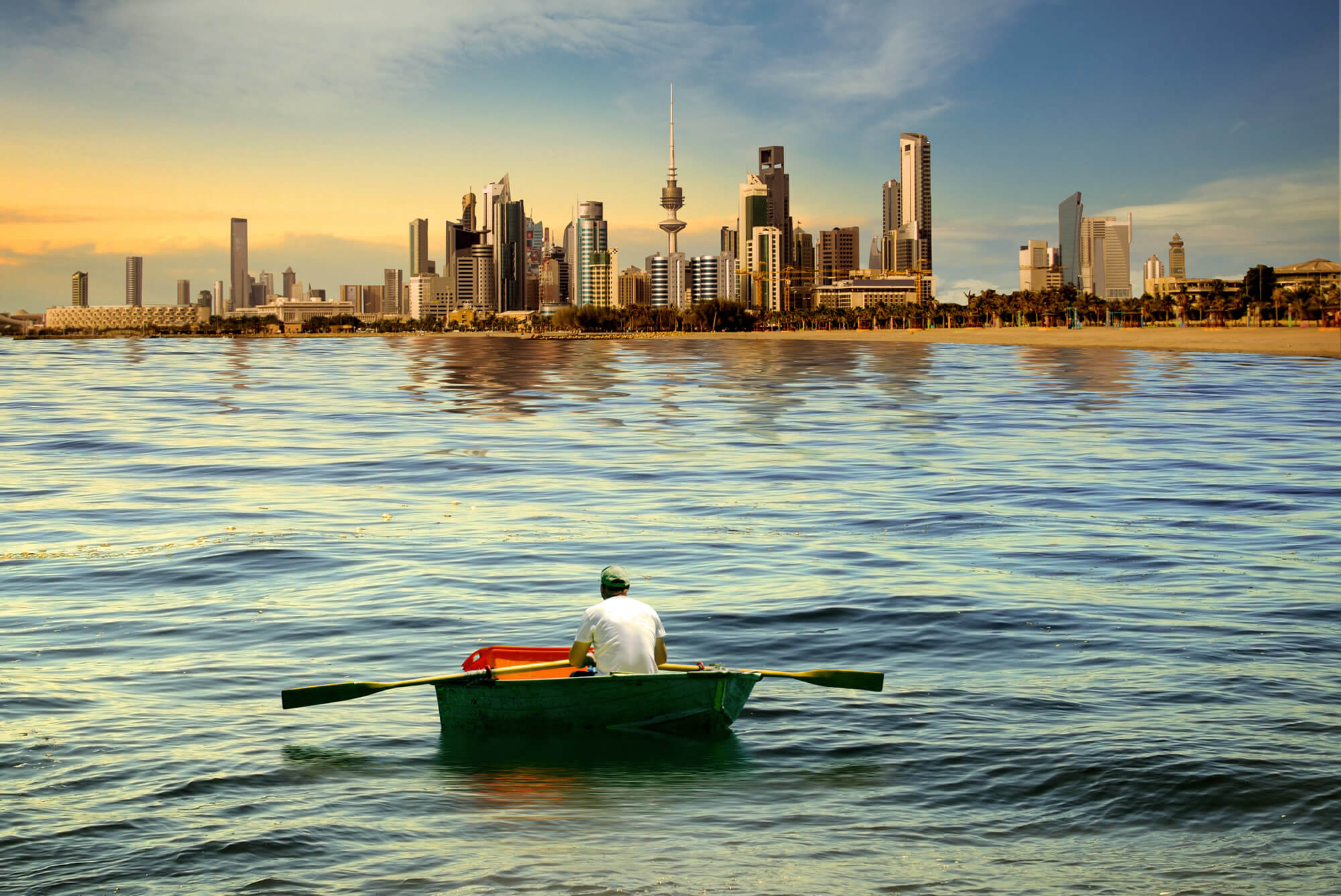 Rowing Boat on the Sea of Kuwait City