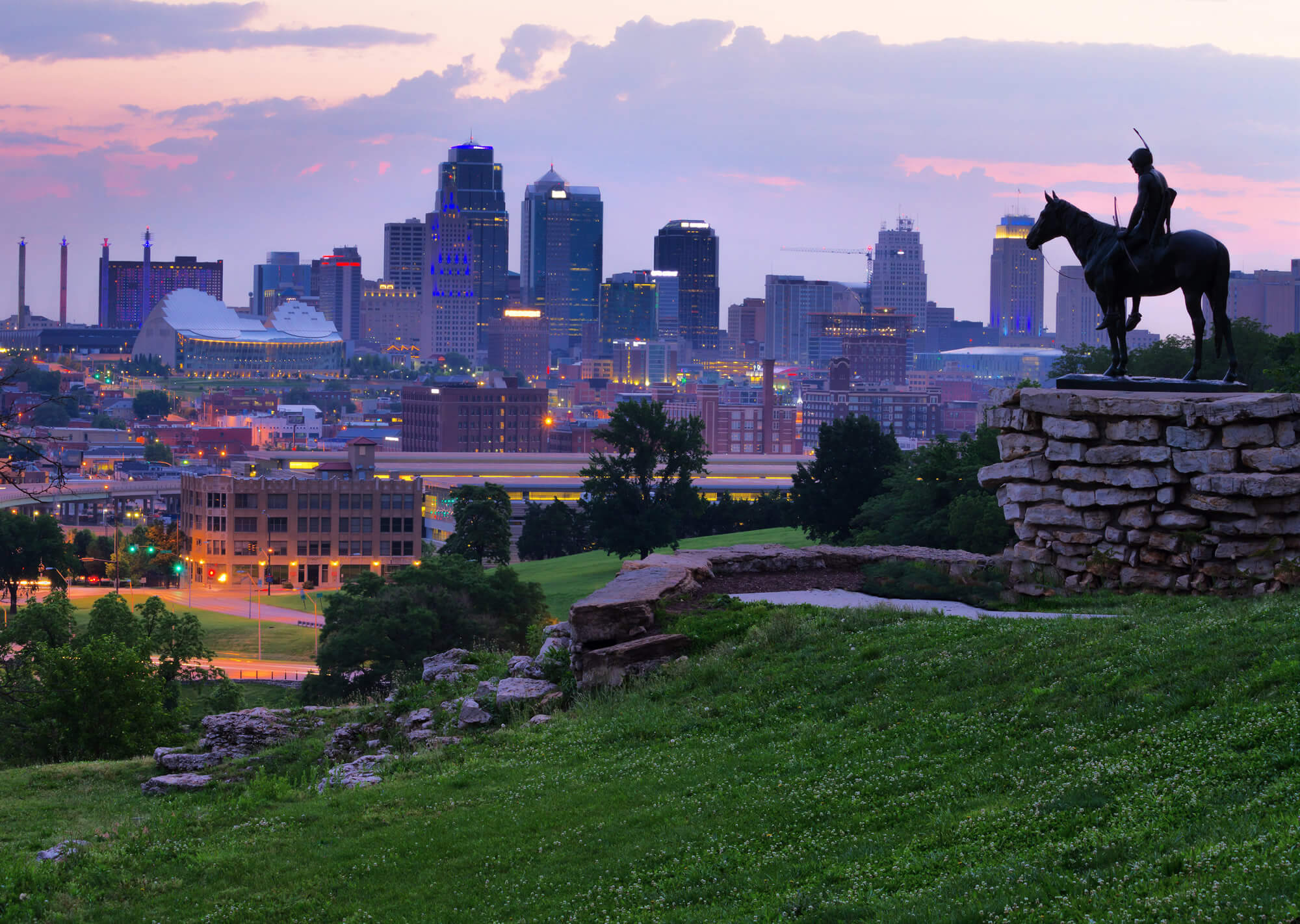 View of Kansas City, Missouri skylines