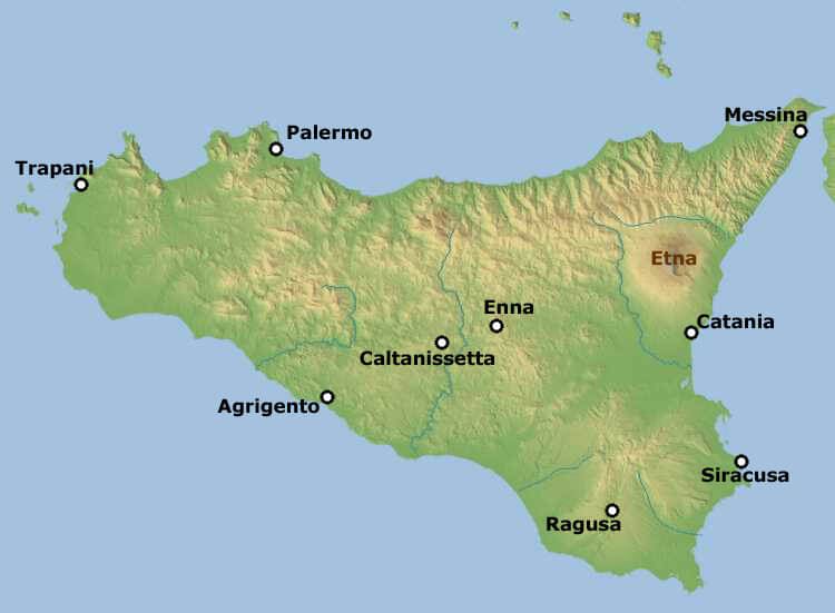 Etna Mount Sicily Map