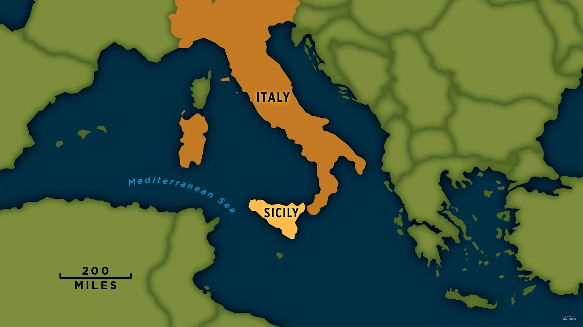 Sicily Tourism Map, Italy