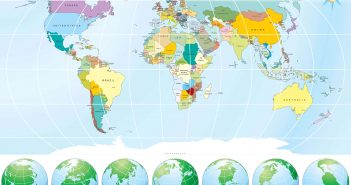 Asia World Map with Globes