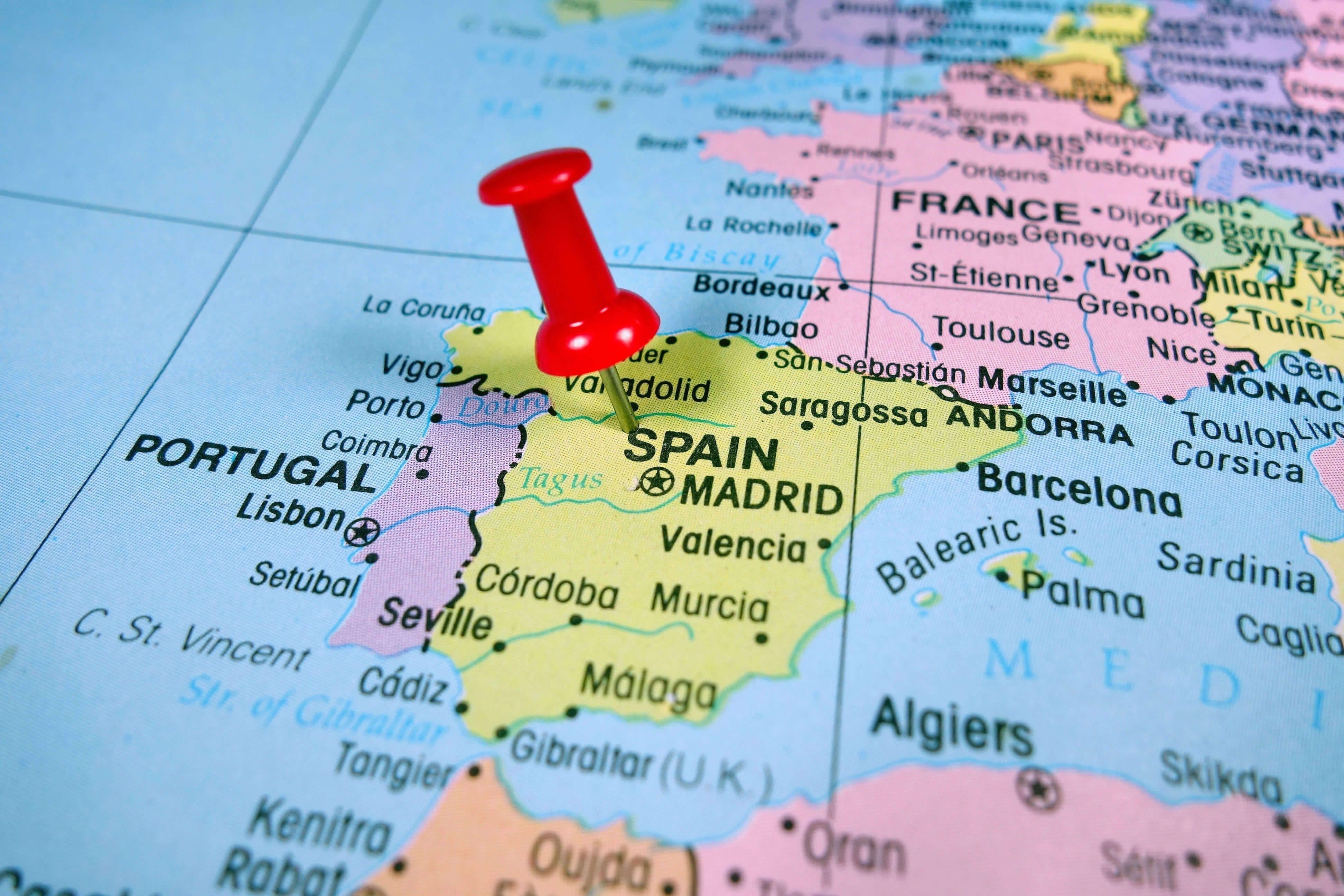 Pushpin Marking on Spain Map