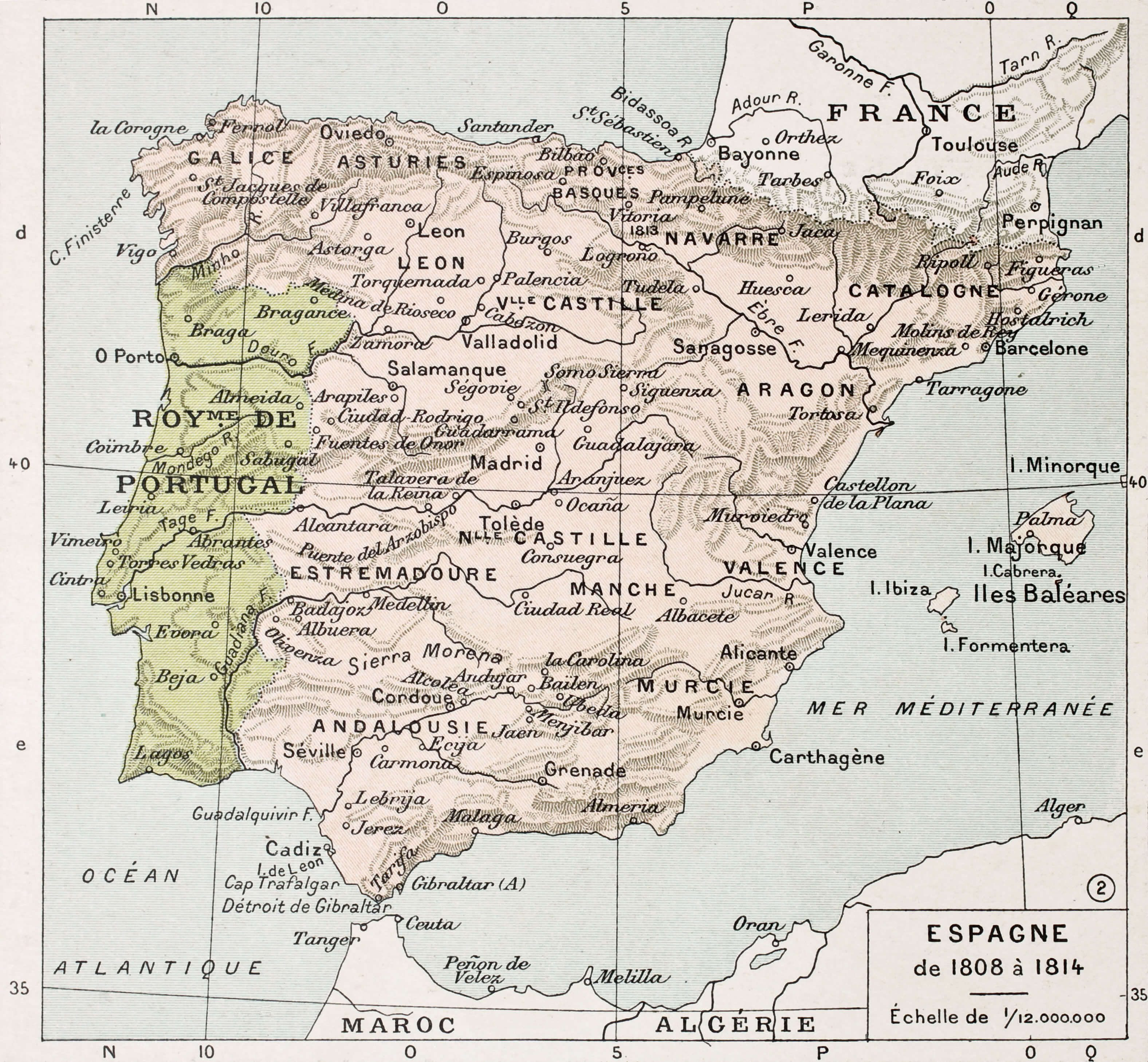 Spain Between 1808 and 1814 Old Map