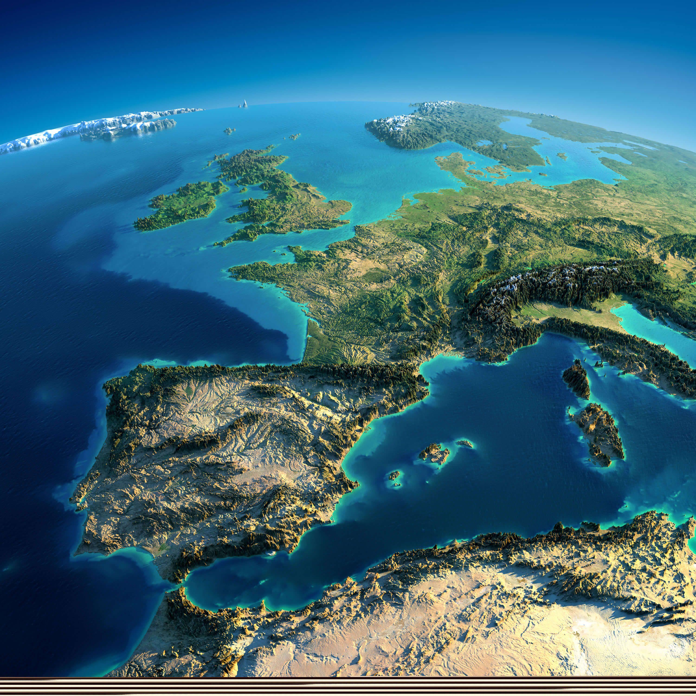 Spain Satellite Map and Mediterranean Sea