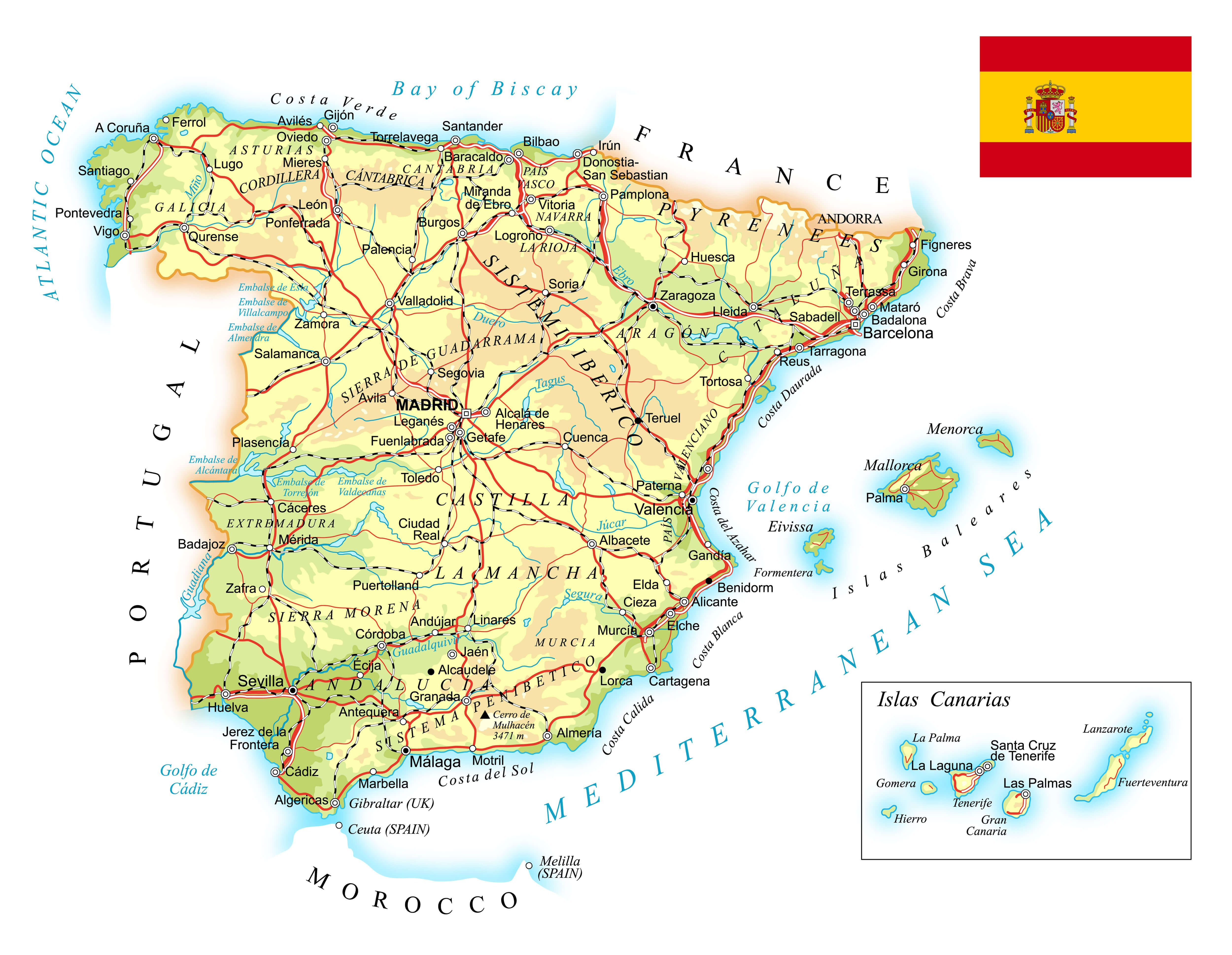 Spain Topographic Map