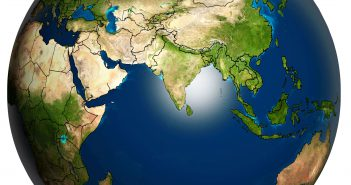 The Earth with Accurate Asia Country Boundaries Map