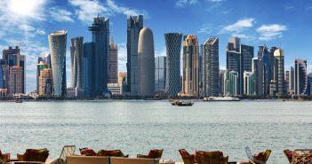 The skyline of Doha, Qatar