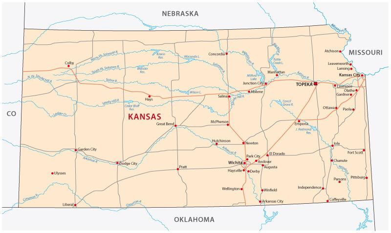 Kansas State Map United States