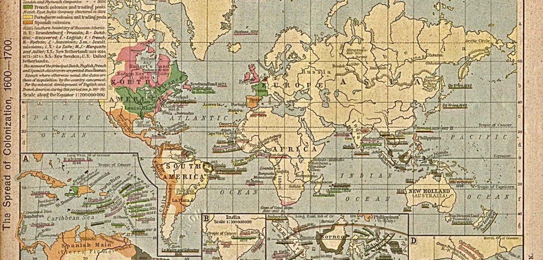 world colonization map 1600-1700