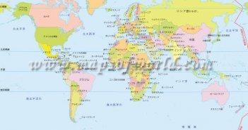 World Map in Japanese Language