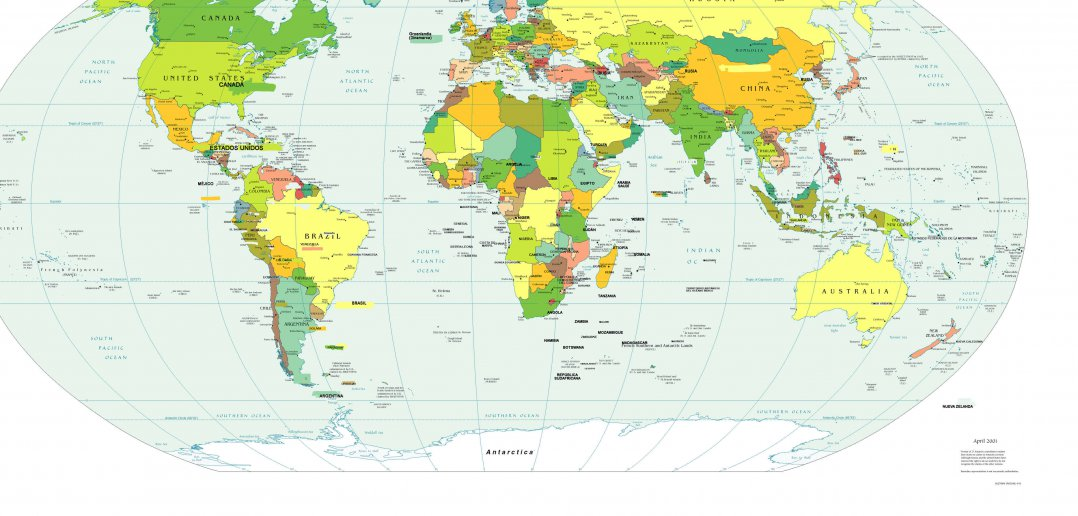 World Map in Spanish Language