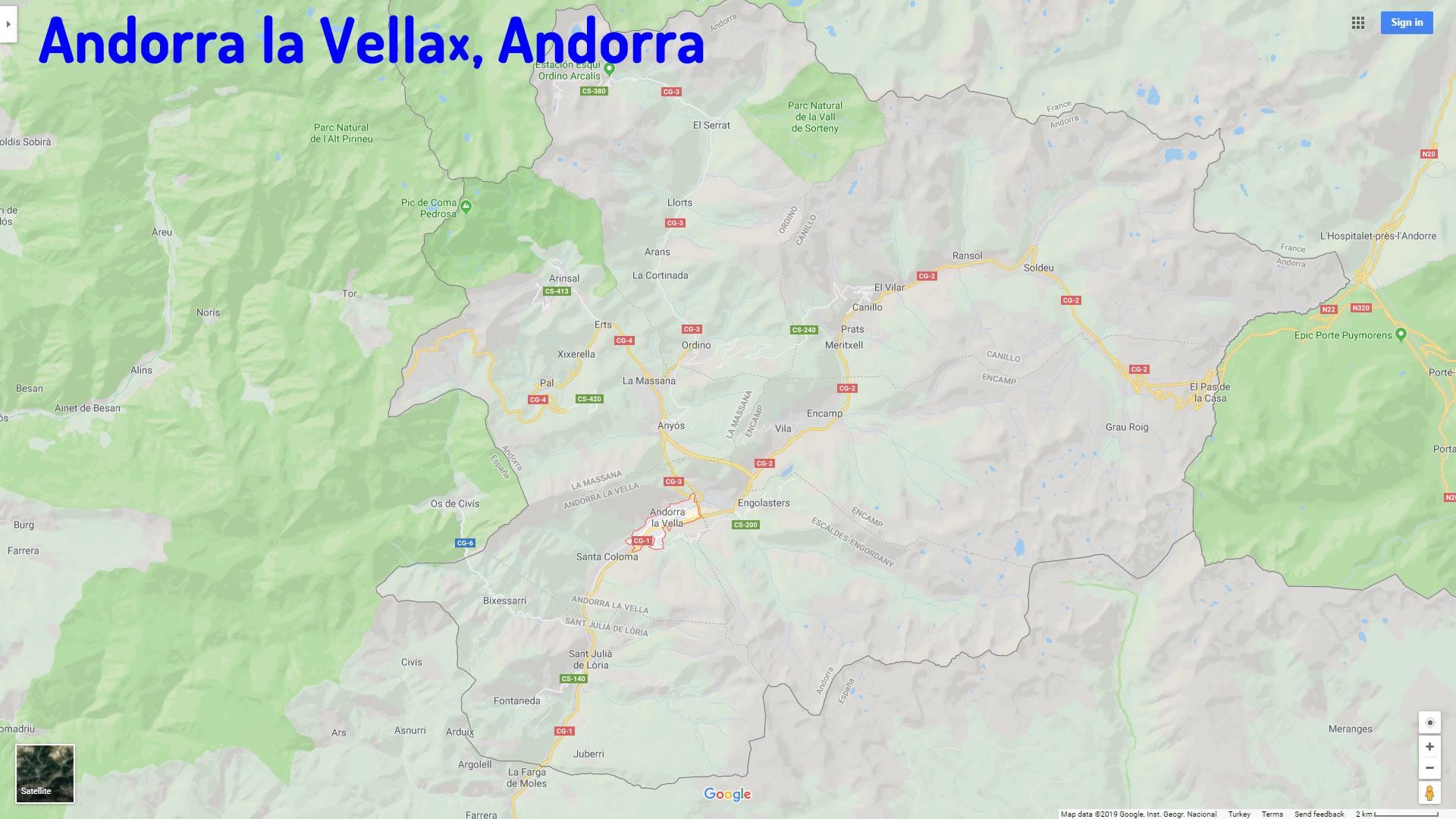 Andorra la Vella map andorra