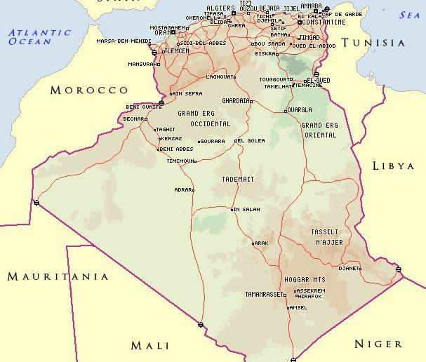 batna country map algeria