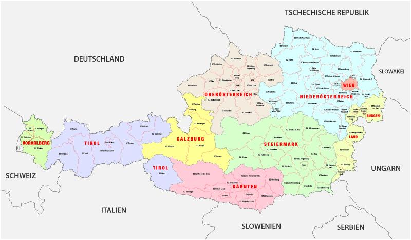 Administrative map of Austria