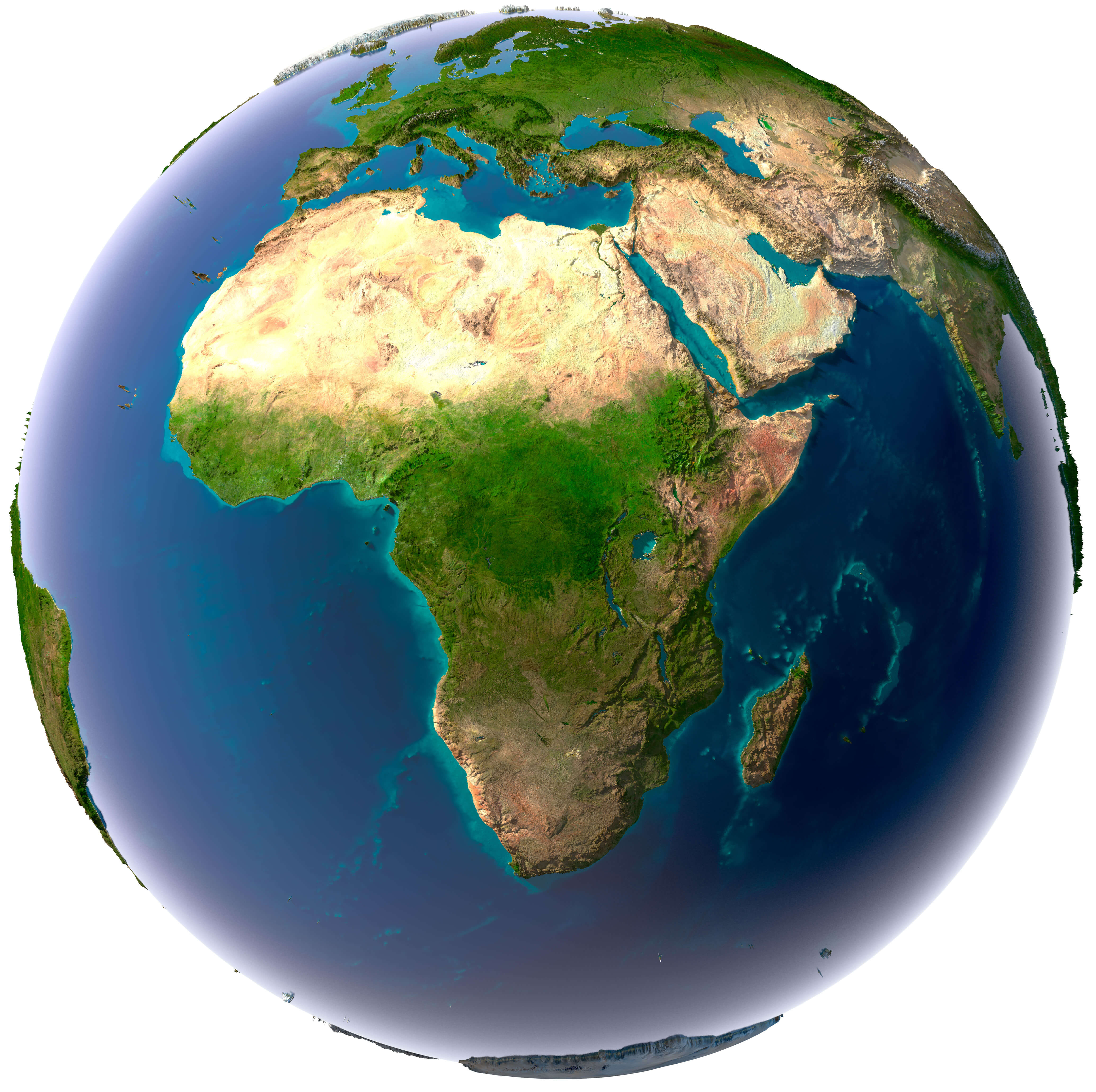 Africa Detailed Topography of Continents