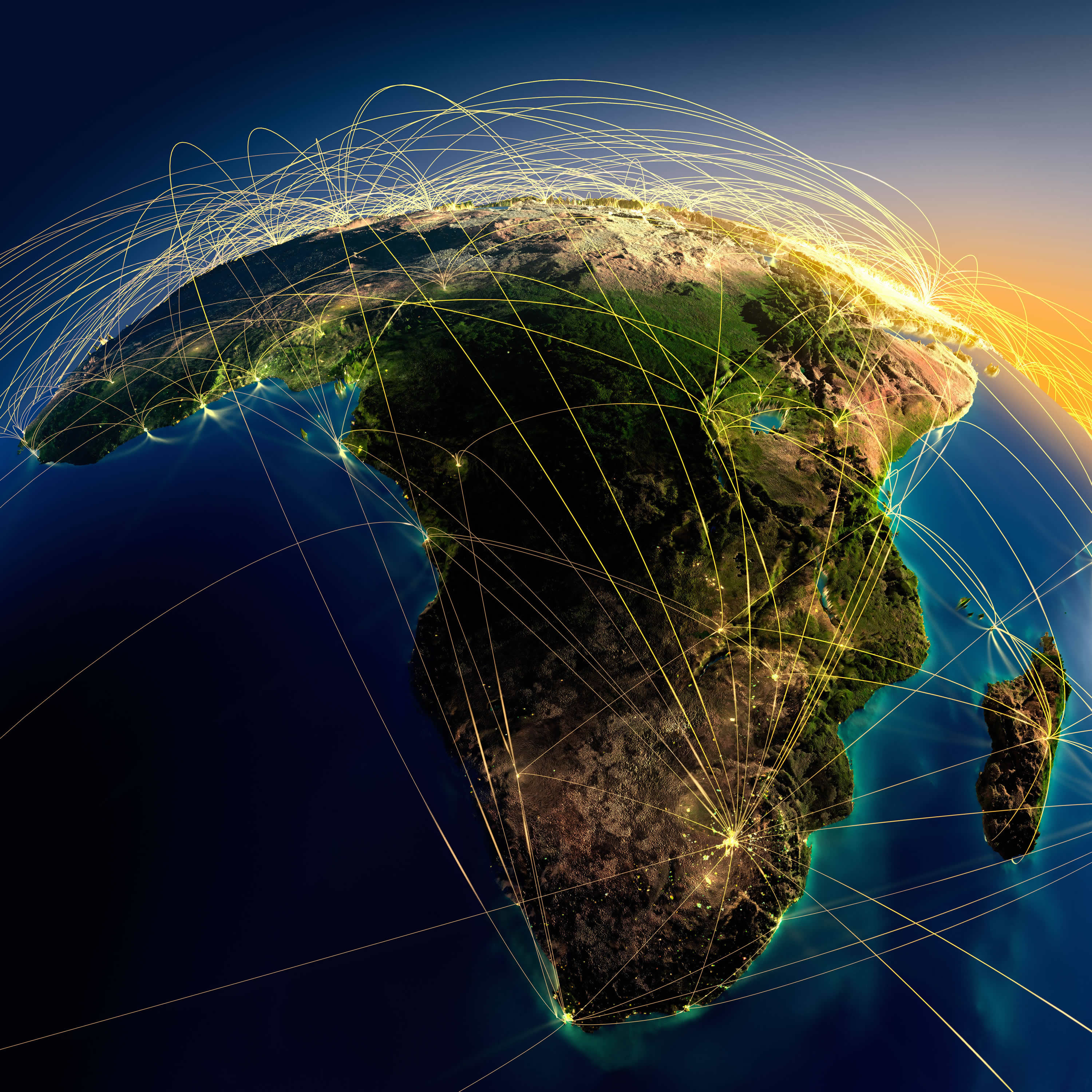 Africa and Earth Air Routes on Real Data