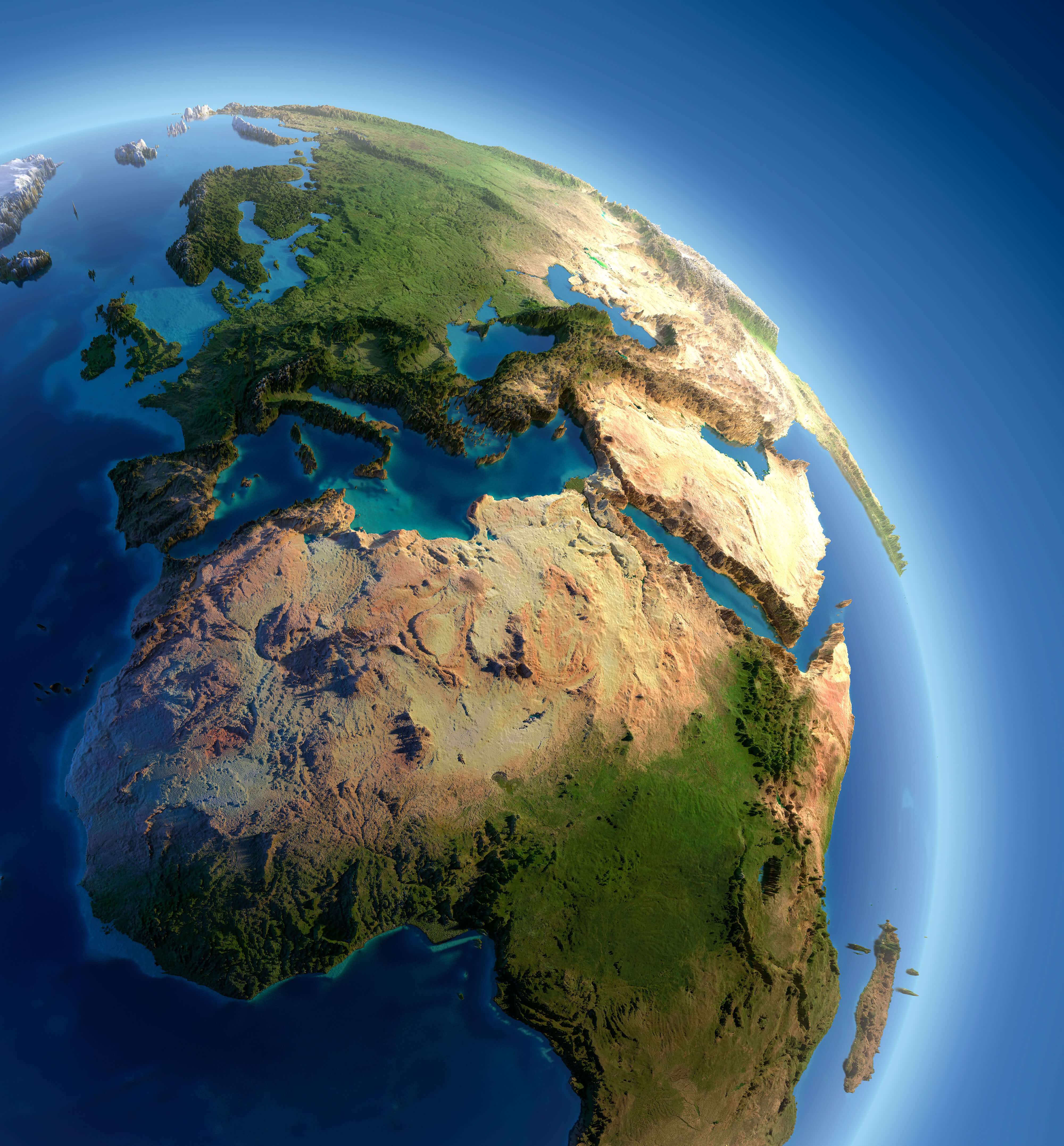 africa earth high relief map