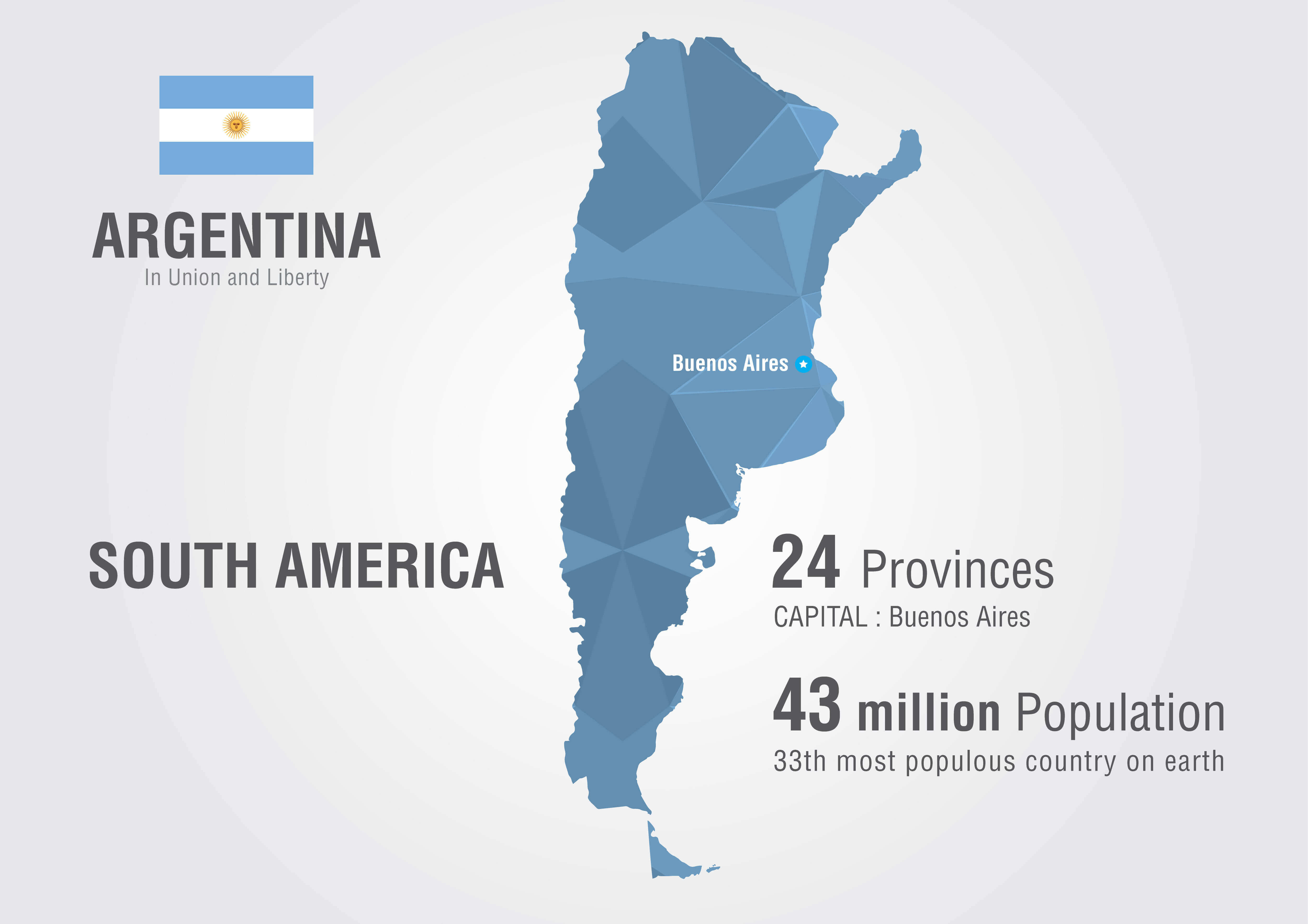 Argentina Map with South America