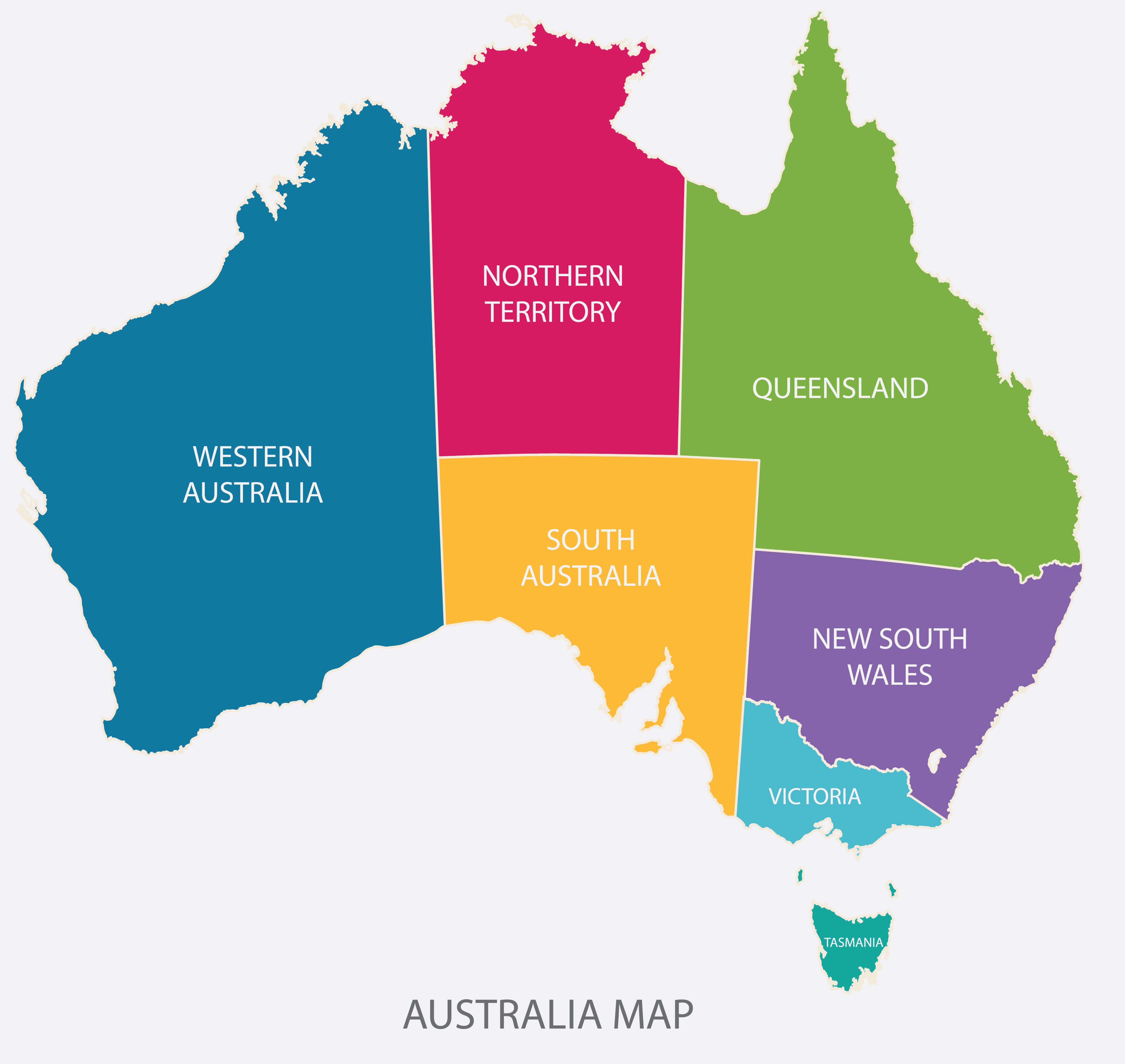 Australia Map Color with Regions