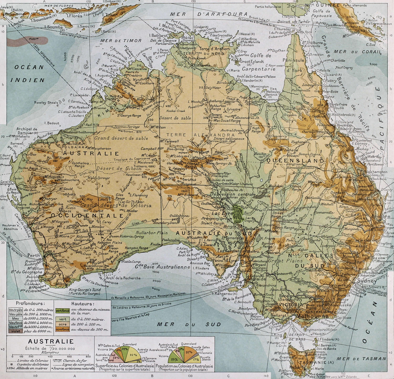 Australia Physical Map 1894 Paris