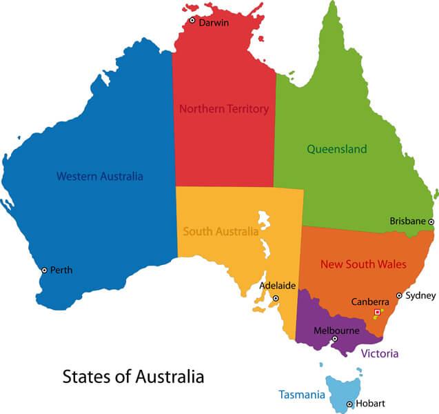 Australia Regions and Major Cities Map